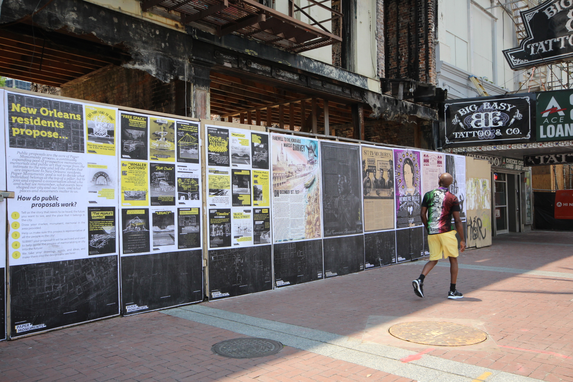 Completed Public Proposal and poster panels at the Canal Street site.