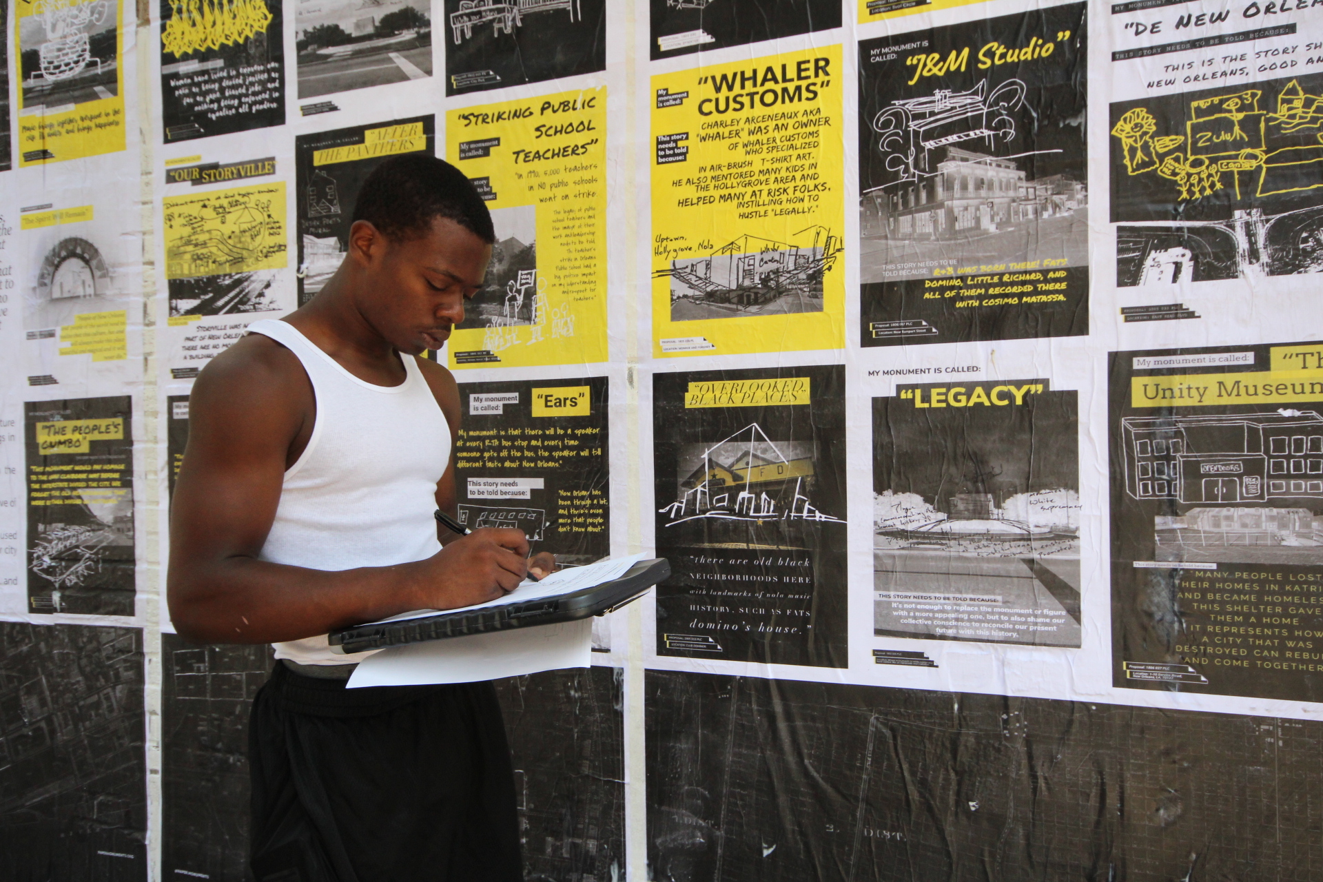 High-school student Tyson fills out a Public Proposal at the Elk Place site.