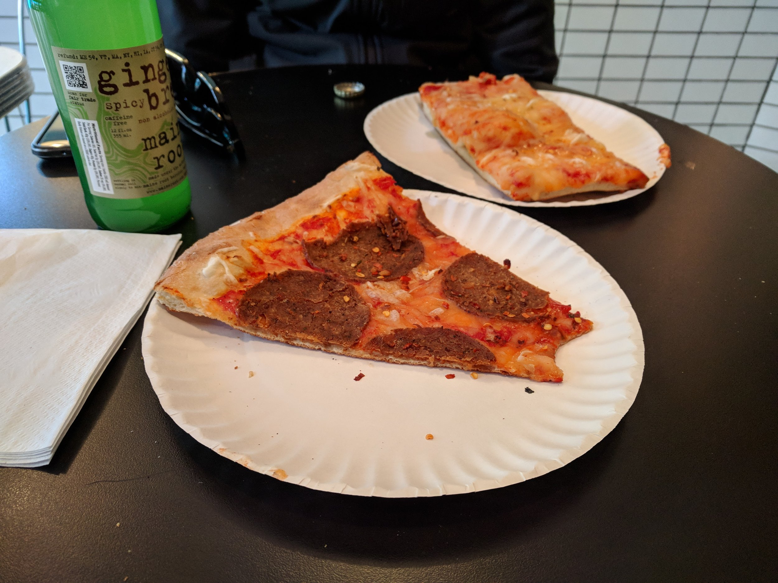 Pepperoni and Grandma slices at Screamer's in Greenpoint (which is a Philly-Brooklyn affair that I get why people are OBSESSED with). I'll admit that I dig it but the mrs was not feeling it !