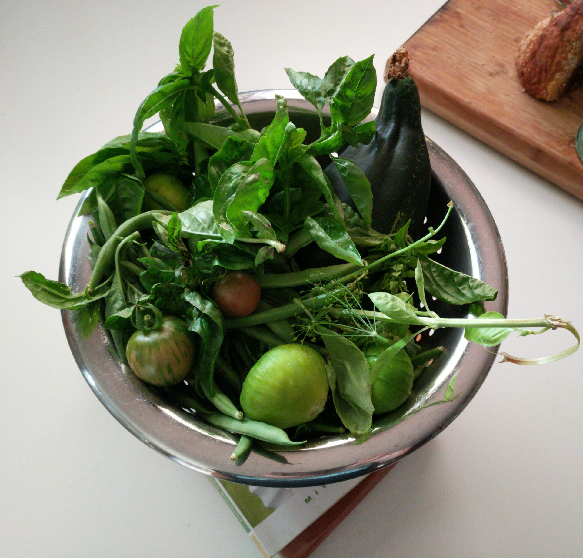Mid-September garden haul. Two, if not three, varieties of basil stuck in there (Italian, Sweet Thai, Holy Basil)
