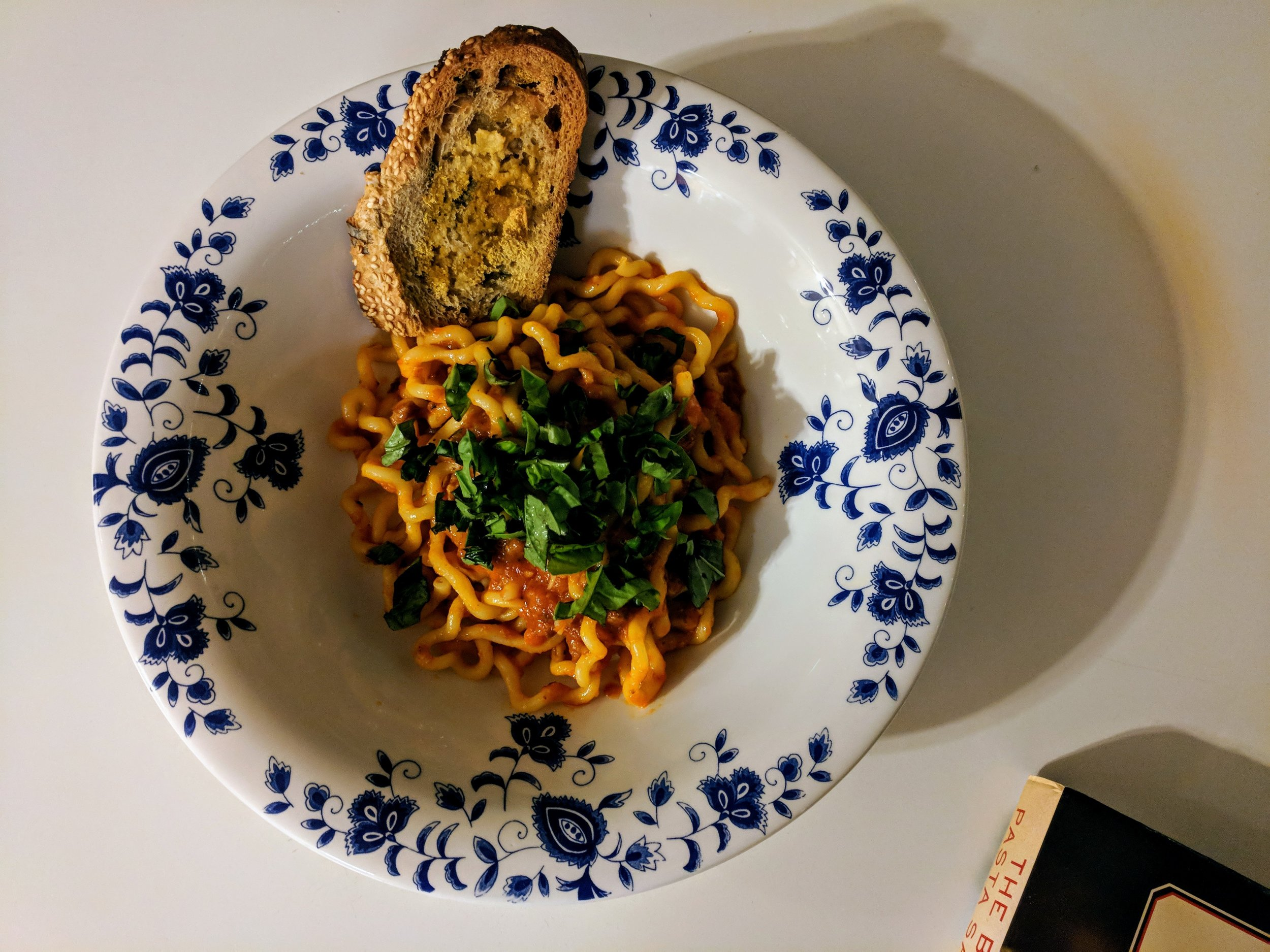 Okay, not pesto, but a recent dish of fusilli lunghi with roasted red pepper and tomato sauce, with a heap of shredded basil. Because, BASIL <3