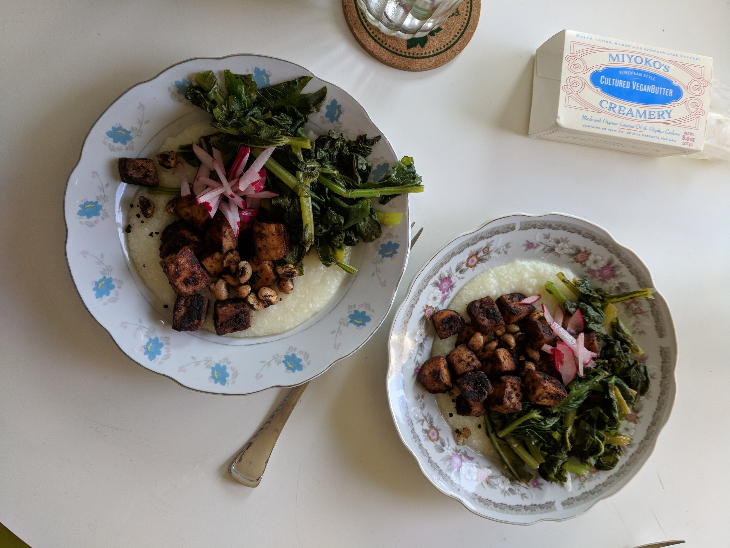 Miyoko's butter and a white grits & baked tofu & greens & radish AKA I didn't come across a photo of the homemade butter