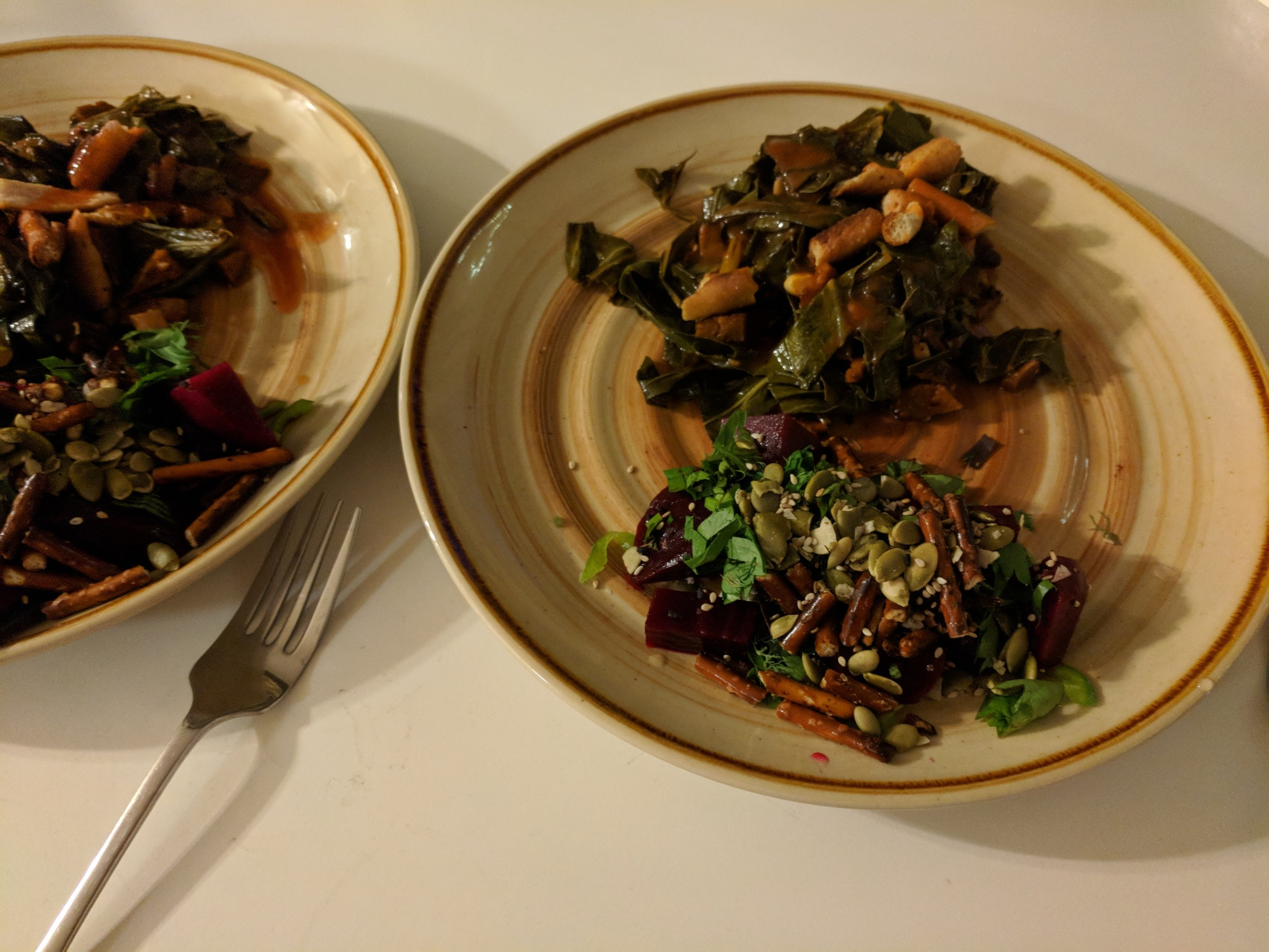 bonus duo from the Superiority Burger cookbook – roasted beet salad with crushed pretzels and hot maple collards