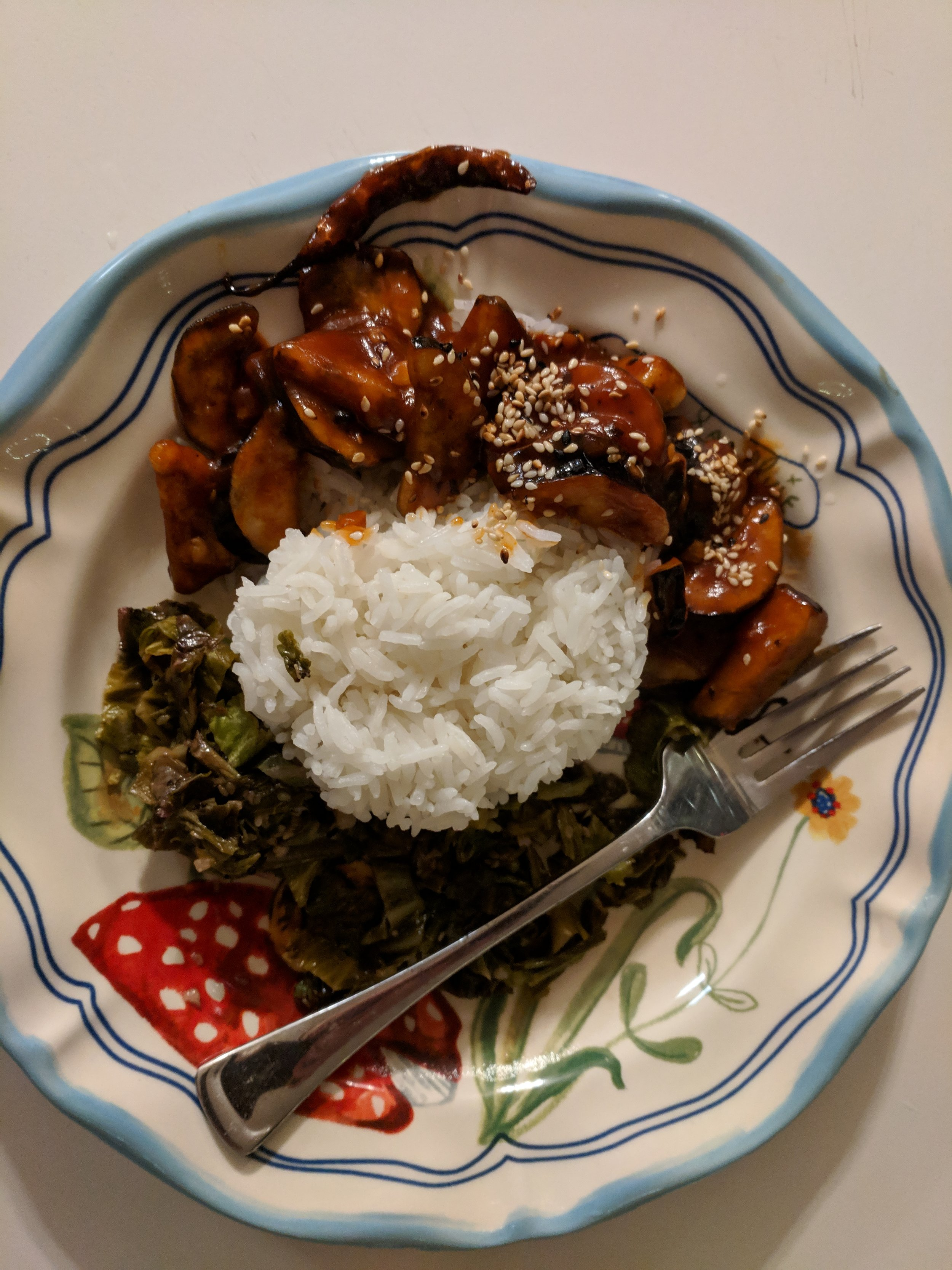 crispy sesame eggplant, sautéed savoy, jasmine rice