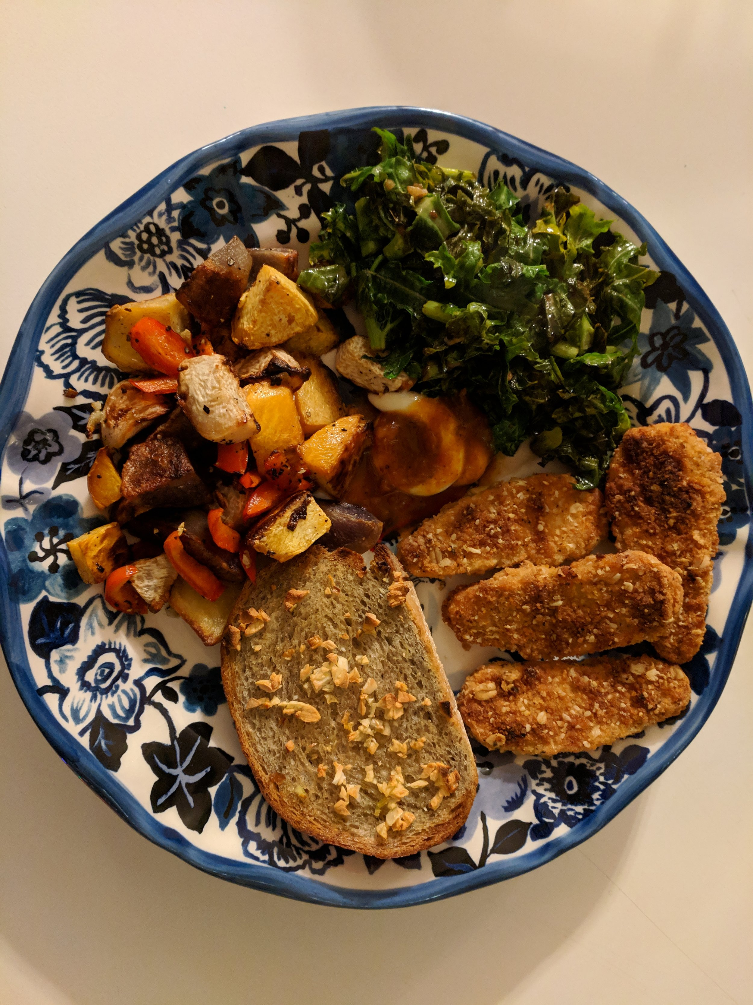 roasted root veggies, garlic toast, wilted kale, gardein chickin'