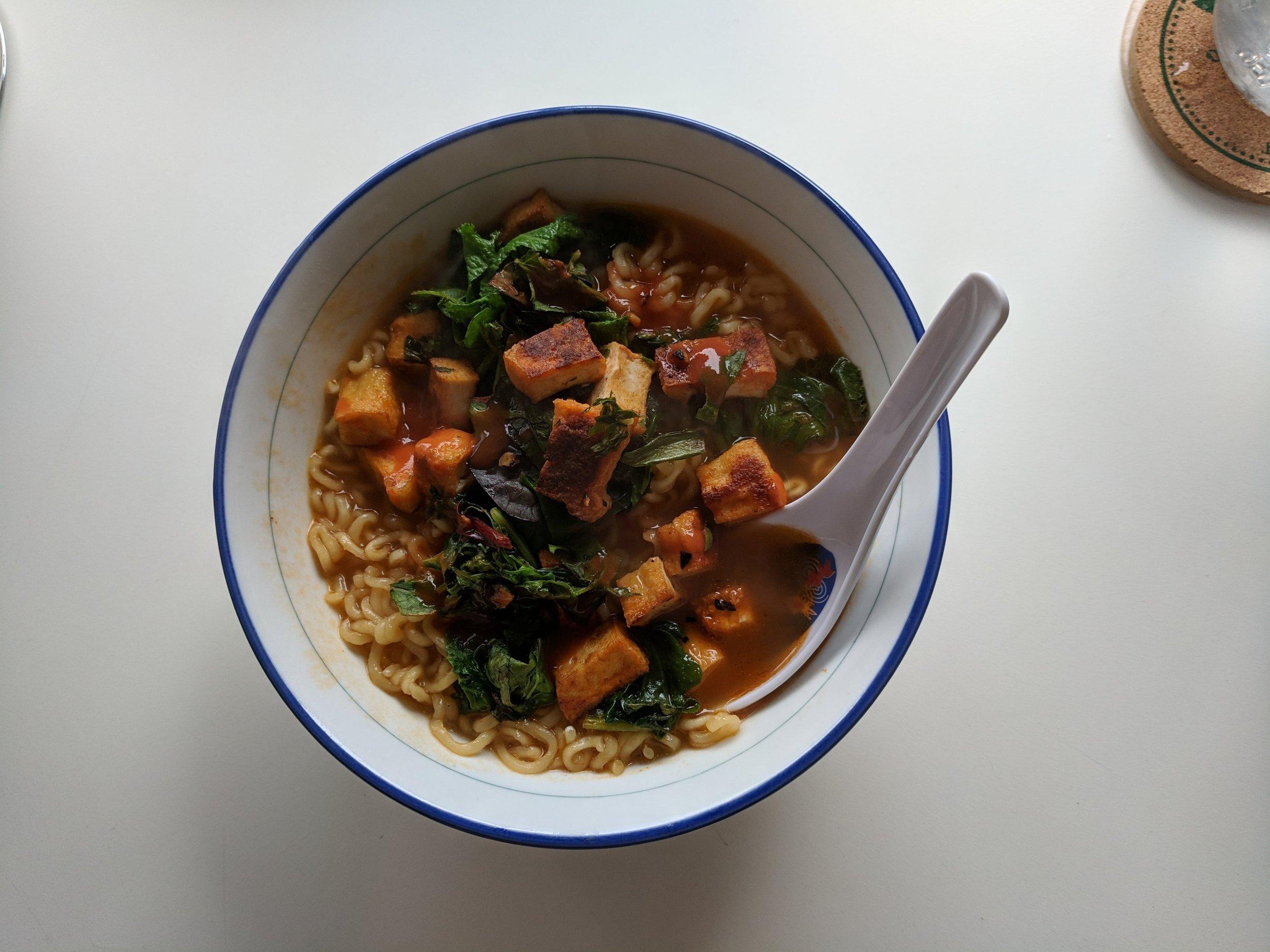 nong shim ramen + hot sauce fried tofu & greens