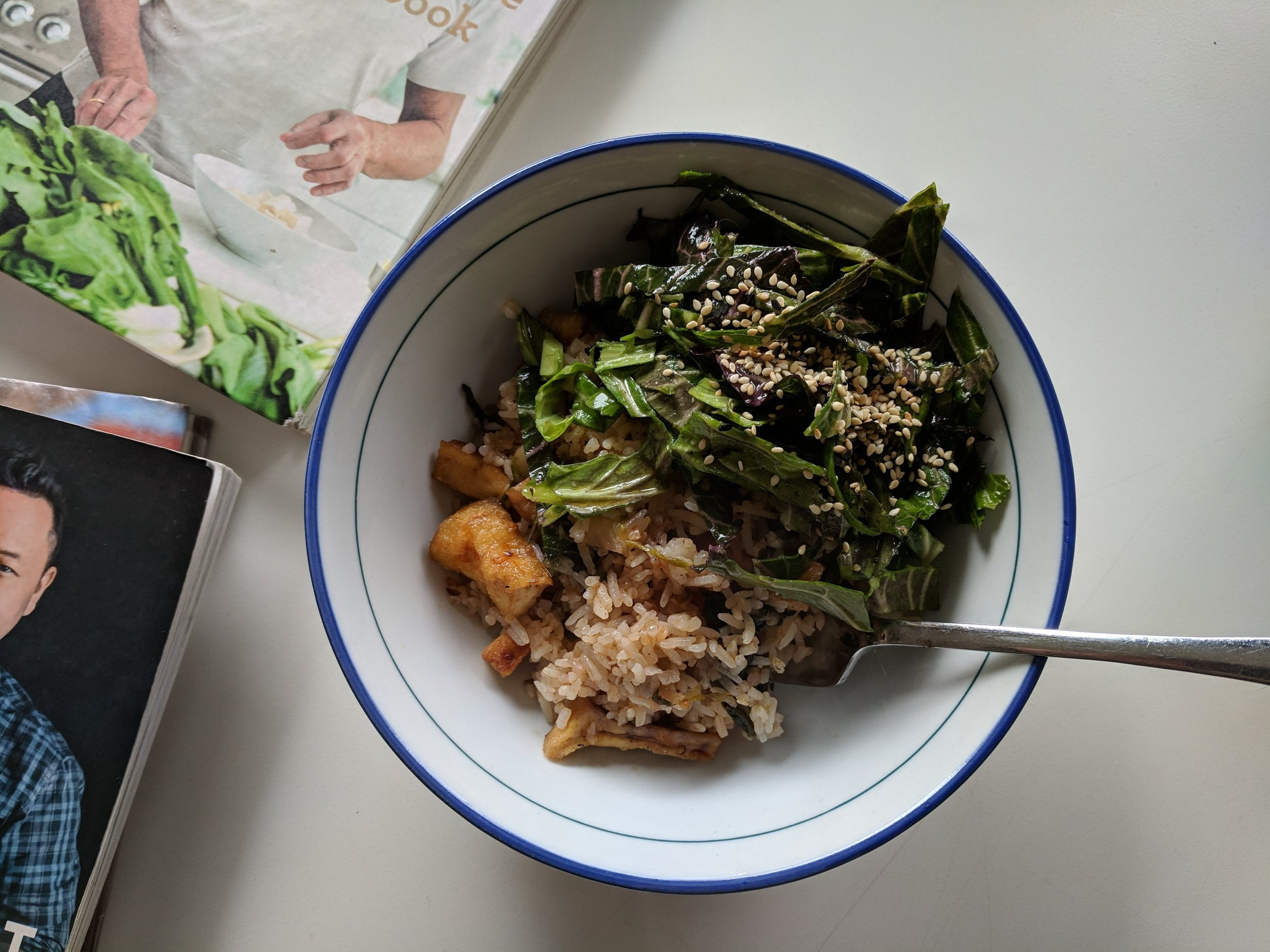 sichuan salt & pepper fried tofu, citrus miso slaw, long grain brown rice