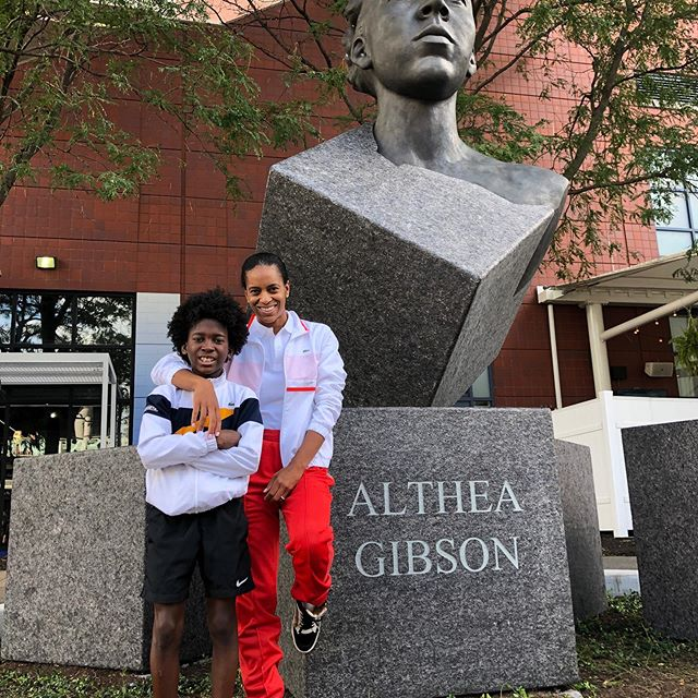 Enjoying a piece of history with my mom!!! #AltheaGibson #USOpen #ustainfluencer #Lacoste #tenniskids #tennisswag #serenawilliams