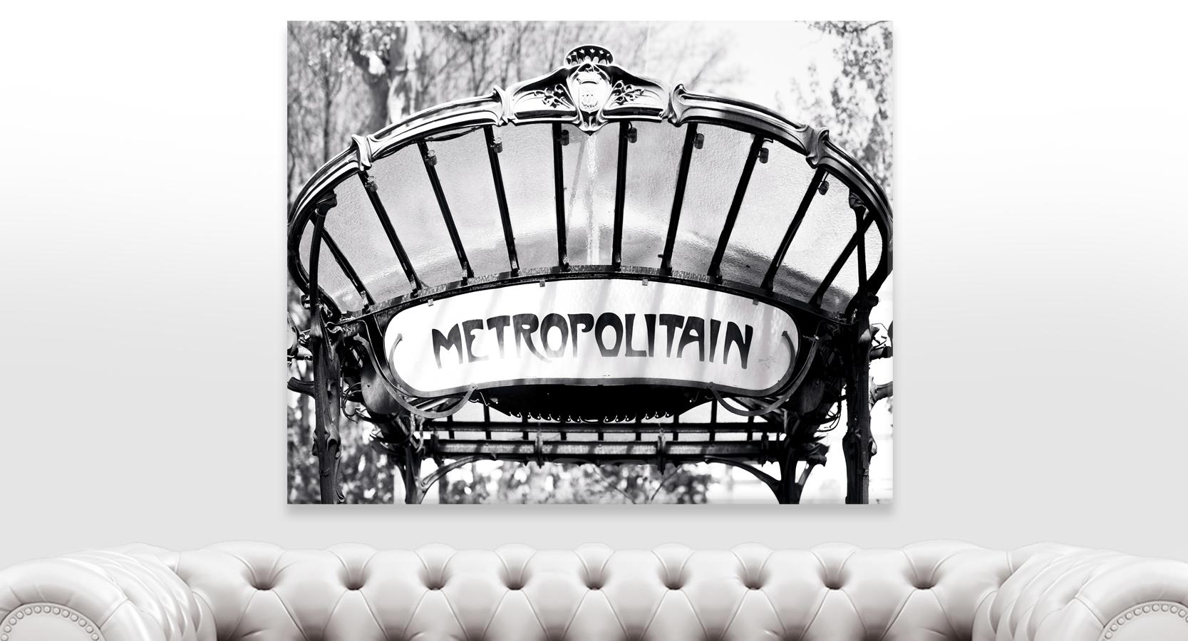 Paris Abbesses Metro Sign Black and White Wall Art