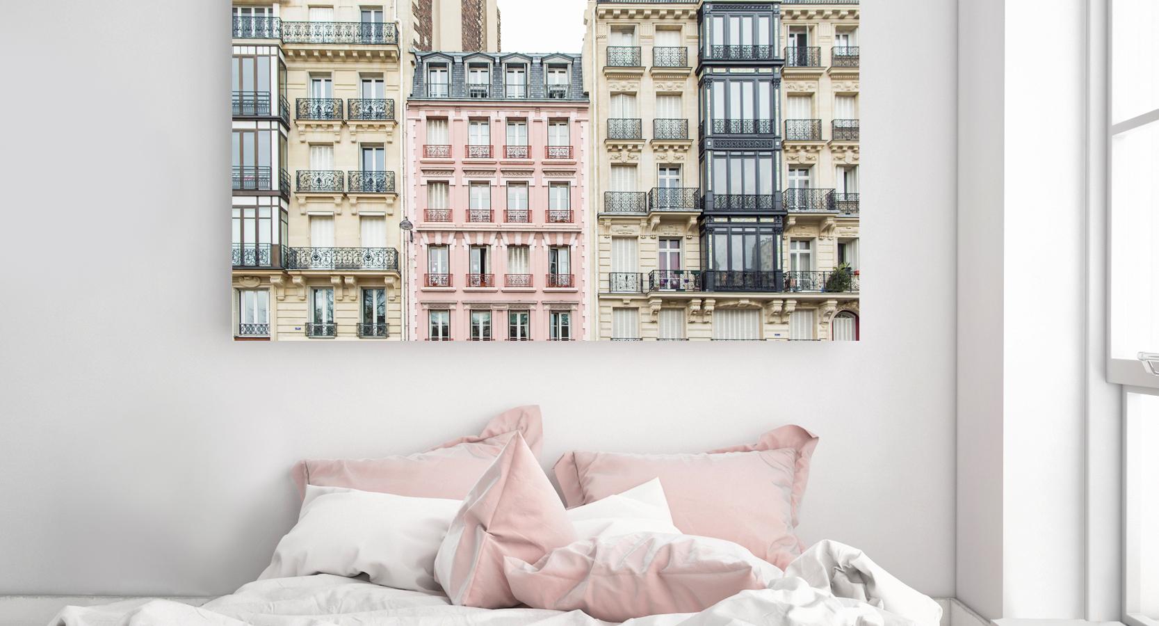 Paris Pink Apartment Building Home Decor