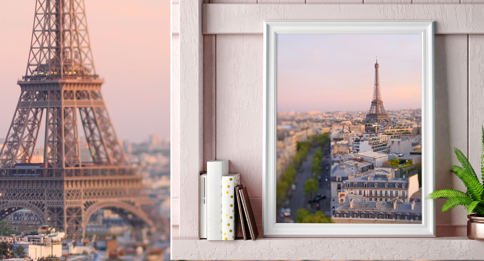Paris France Eiffel Tower Sunset Wall Decor