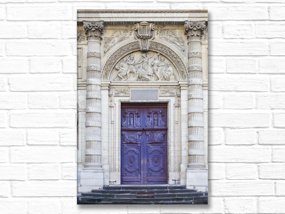 Paris France Home Decor Canvas Wall Art, Violet Church Door