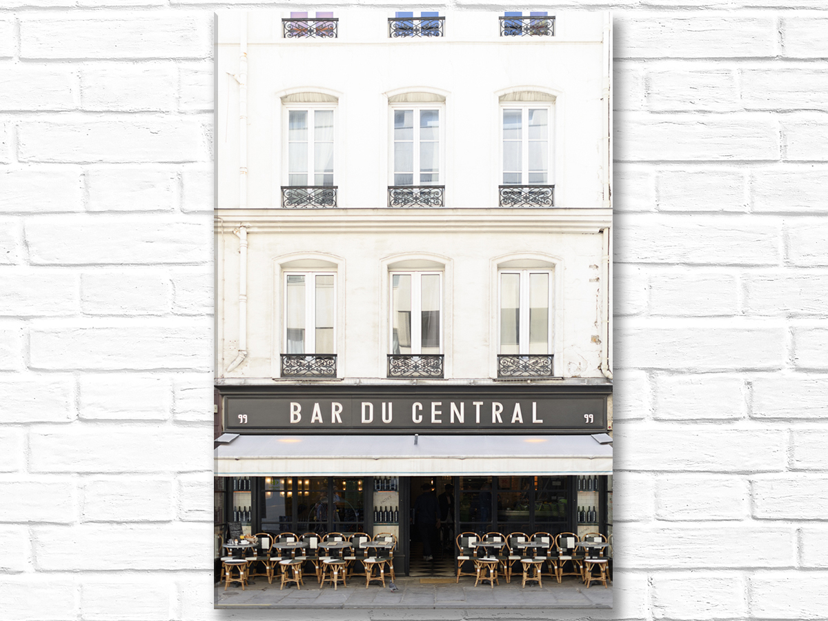 Paris France Home Decor Canvas Wall Art, Bar du Central