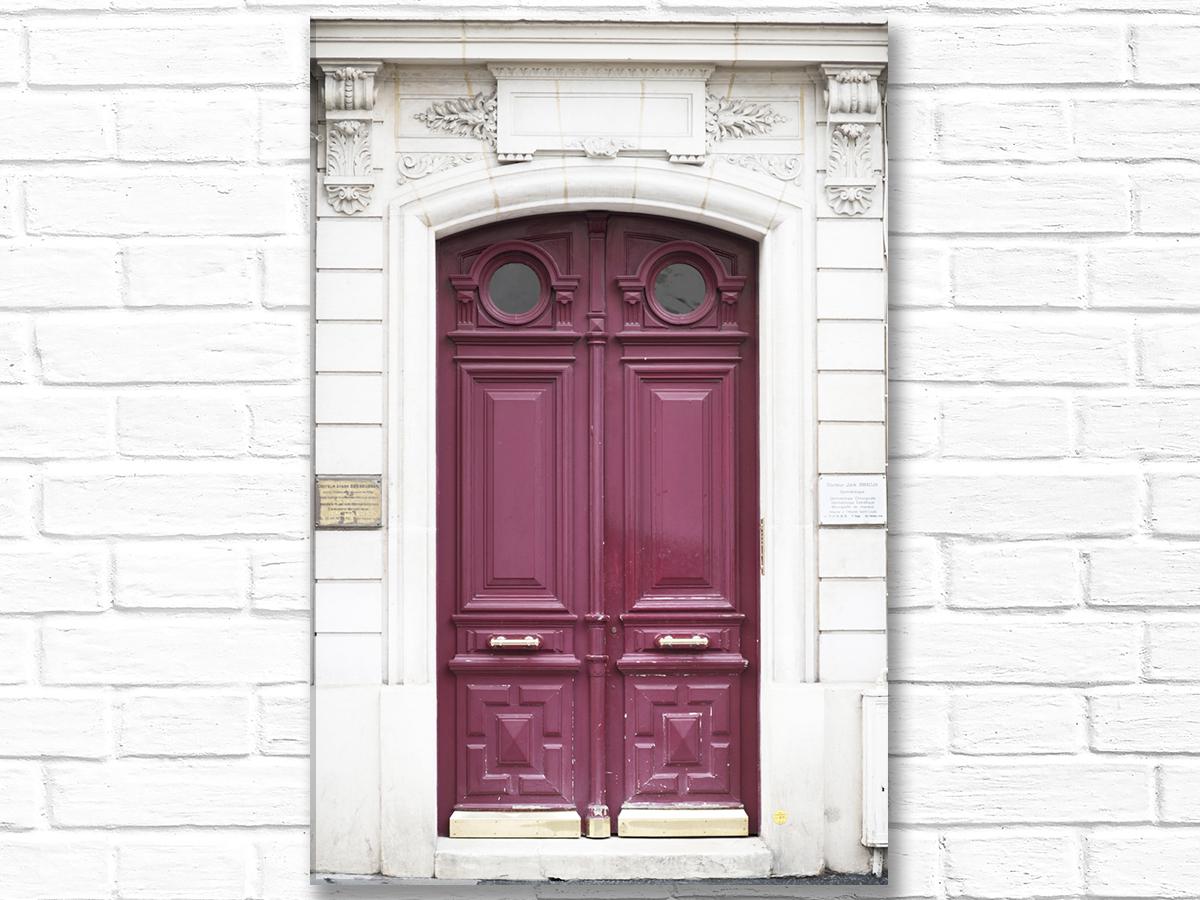 Paris France Home Decor Canvas Wall Art, Wine-Colored Door