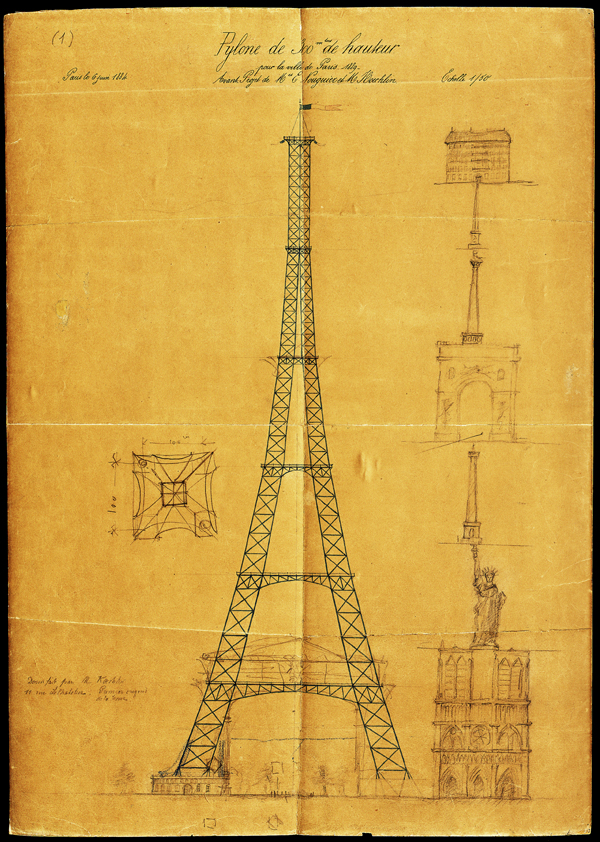 The first drawing of what eventually became the Eiffel Tower, by Maurice Koechlin. The drawing includes comparisons to other Paris landmarks such as Notre Dame de Paris, the Statue of Liberty and the Vendôme Column.
