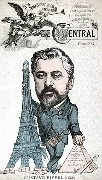 Caricature of Gustave Eiffel with the tower and an Egyptian pyramid, to which he compared it.