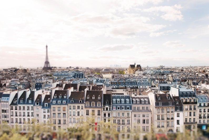 Eiffel Tower across rooftops