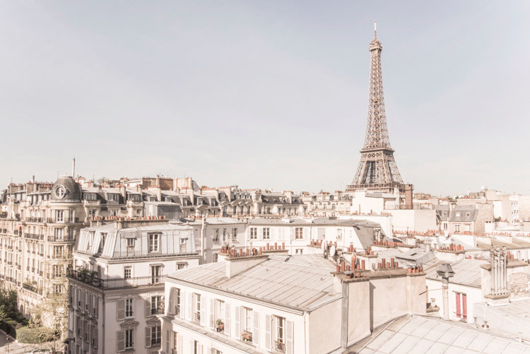 The Eiffel Tower and Rooftops of Paris