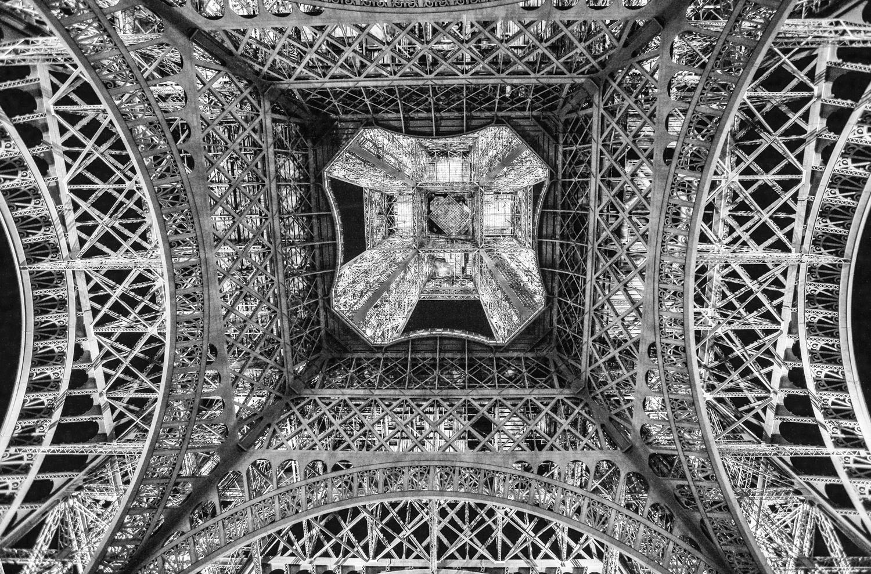 Inside the Eiffel Tower from Below