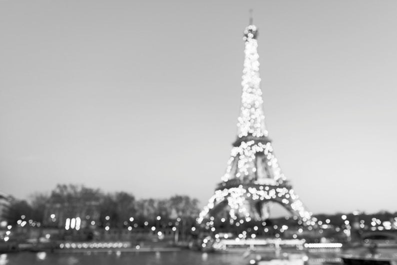 The Eiffel Tower at Night, black and white