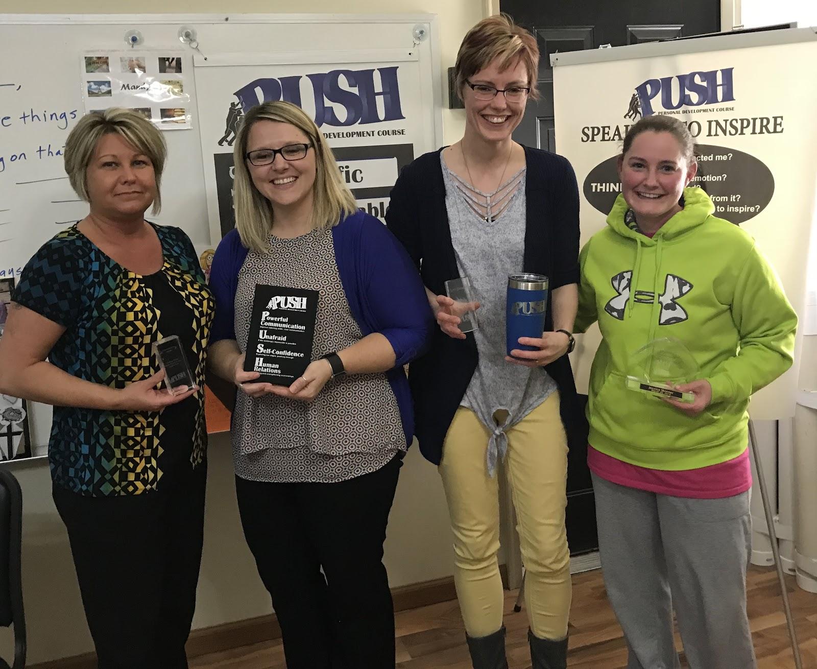 Award recipients at Session 12 of the Mitchell, SD PUSH class, 3/26/18 Krintina Baysinger, Mandy Stevens, Randi Pietz, and Jessica Skinner