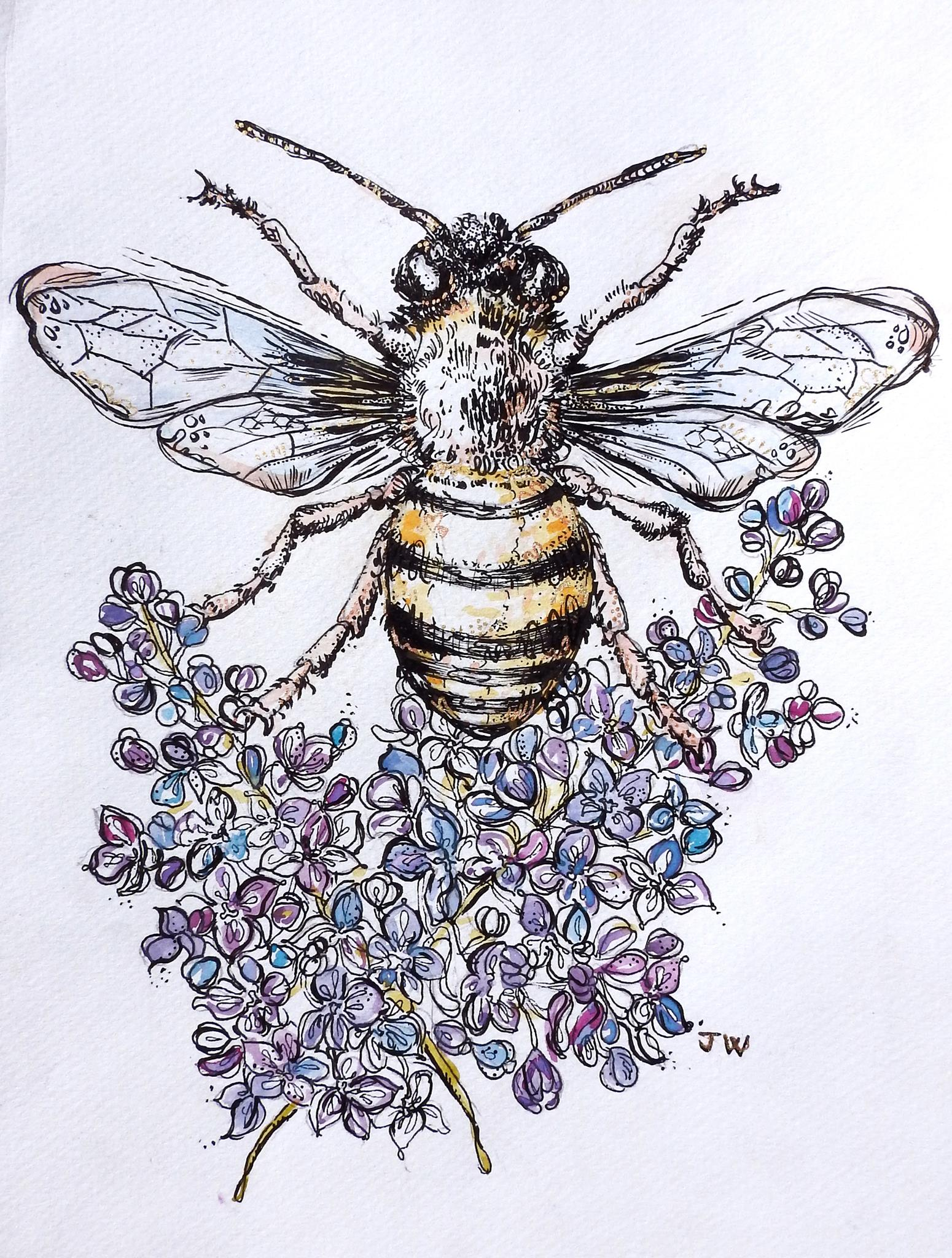 Bee with Lilacs