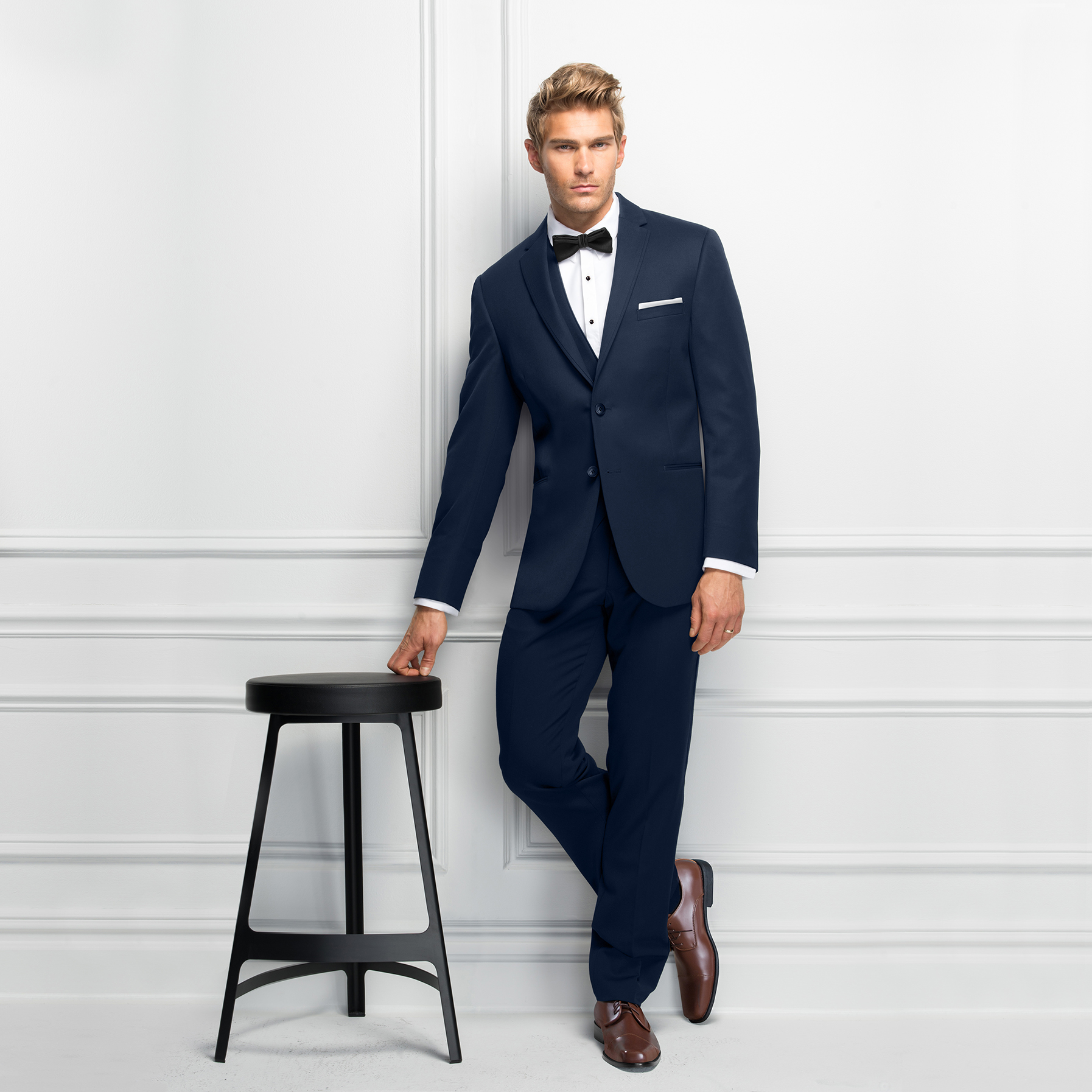 Navy Tuxedo Brown Shoes | Michael Kors Suit | available at Bride To Be Couture | 6040 Fair Oaks Blvd. Carmichael, CA 95608 | 916.972.8223 | @bridetobecouture