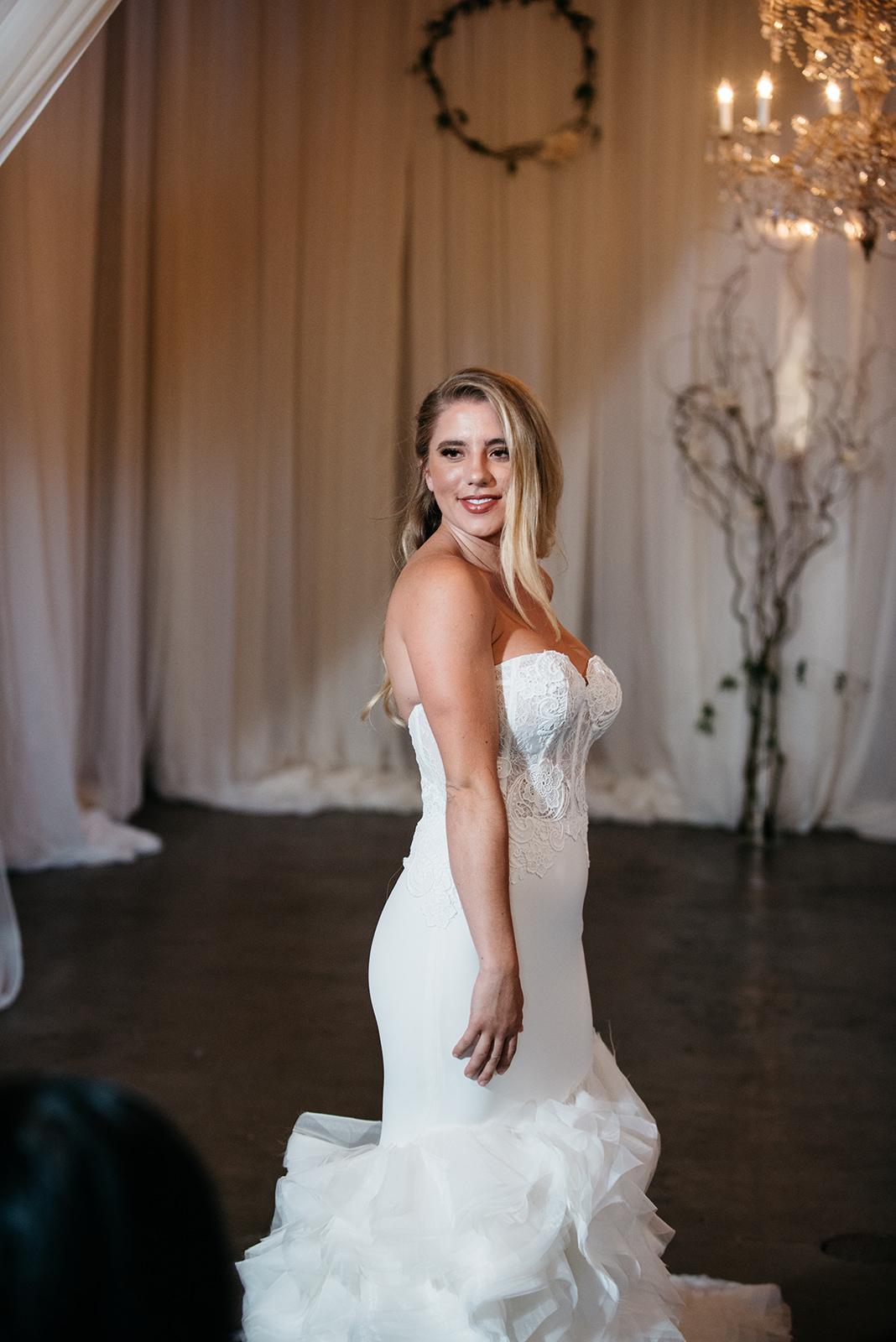 Model Meghan Vanderford wearing Lazaro.