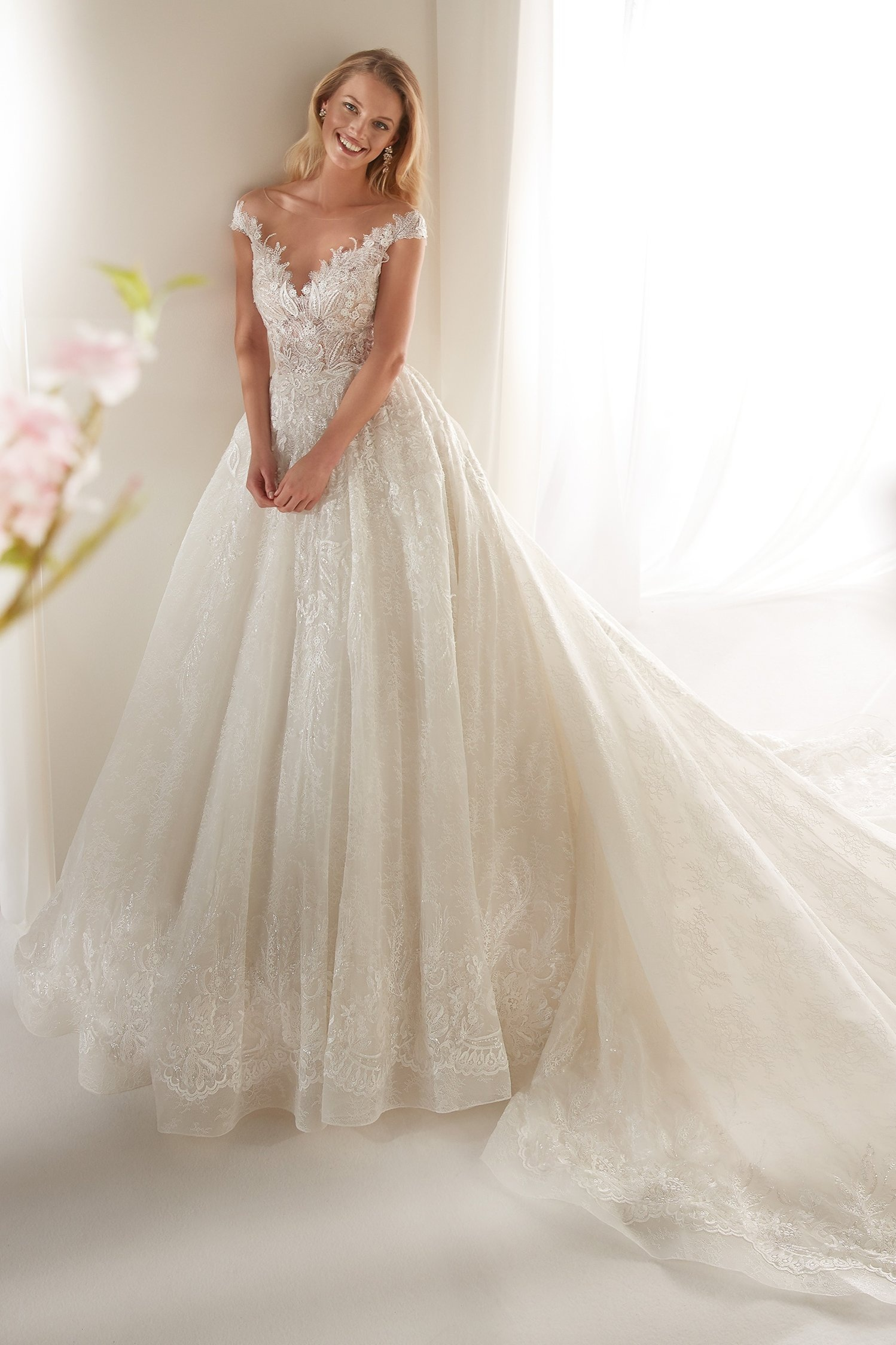 Colet by Nicole Spose Wedding Dresses | Romantic Lace Sparkle Ballgown Illusion Neckline Wedding Dress