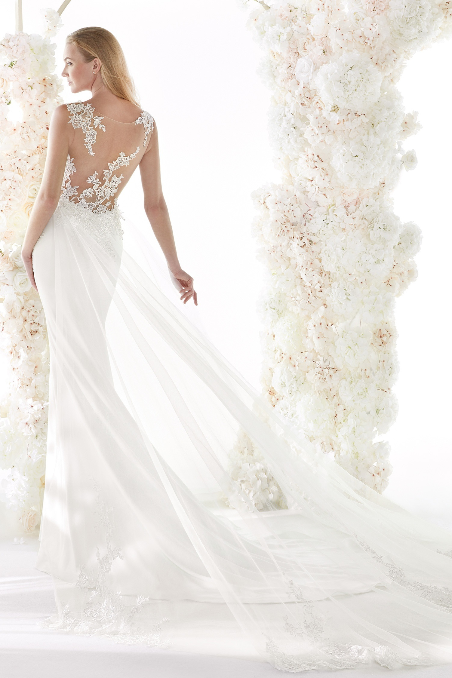 Colet by Nicole Spose Wedding Dresses | Sexy Illusion Back Crepe Wedding Dress