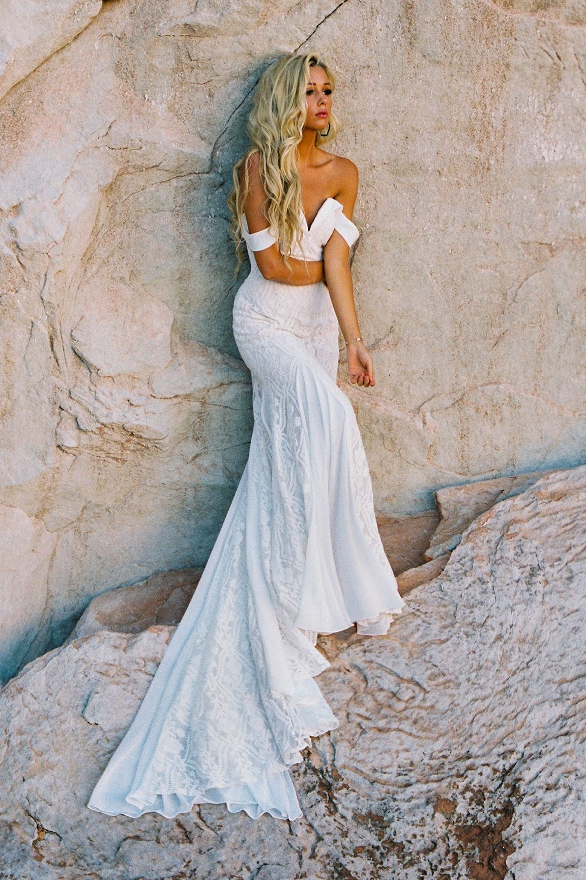 Wilderly Bride Wedding Dresses | Boho Off the Shoulder Lace Chiffon Wedding Dress