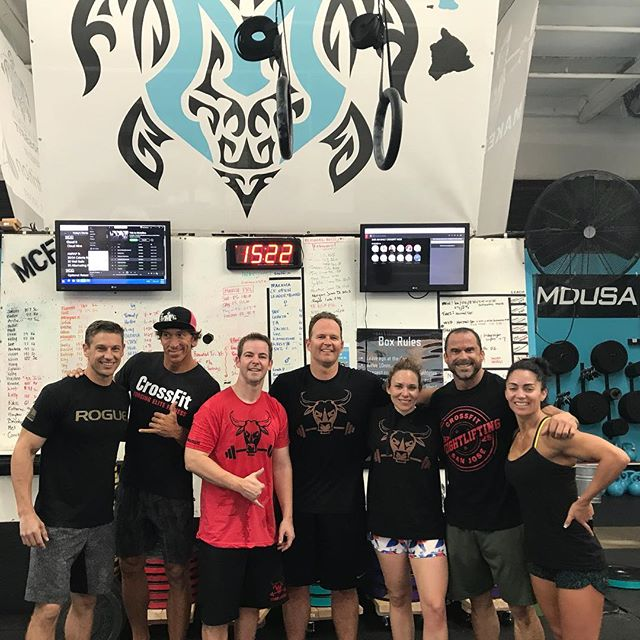 It was great to workout with the crew ( @stronglikebullofficial @smashwerx and @cfvice ) at @makenacrossfit this morning! We CRUSHED  it! #maui #crossfit #wod #machadobundle #iamstronglikebull #plantbased #wallballs #concept2rower #benchpress @dr_nick_tedder