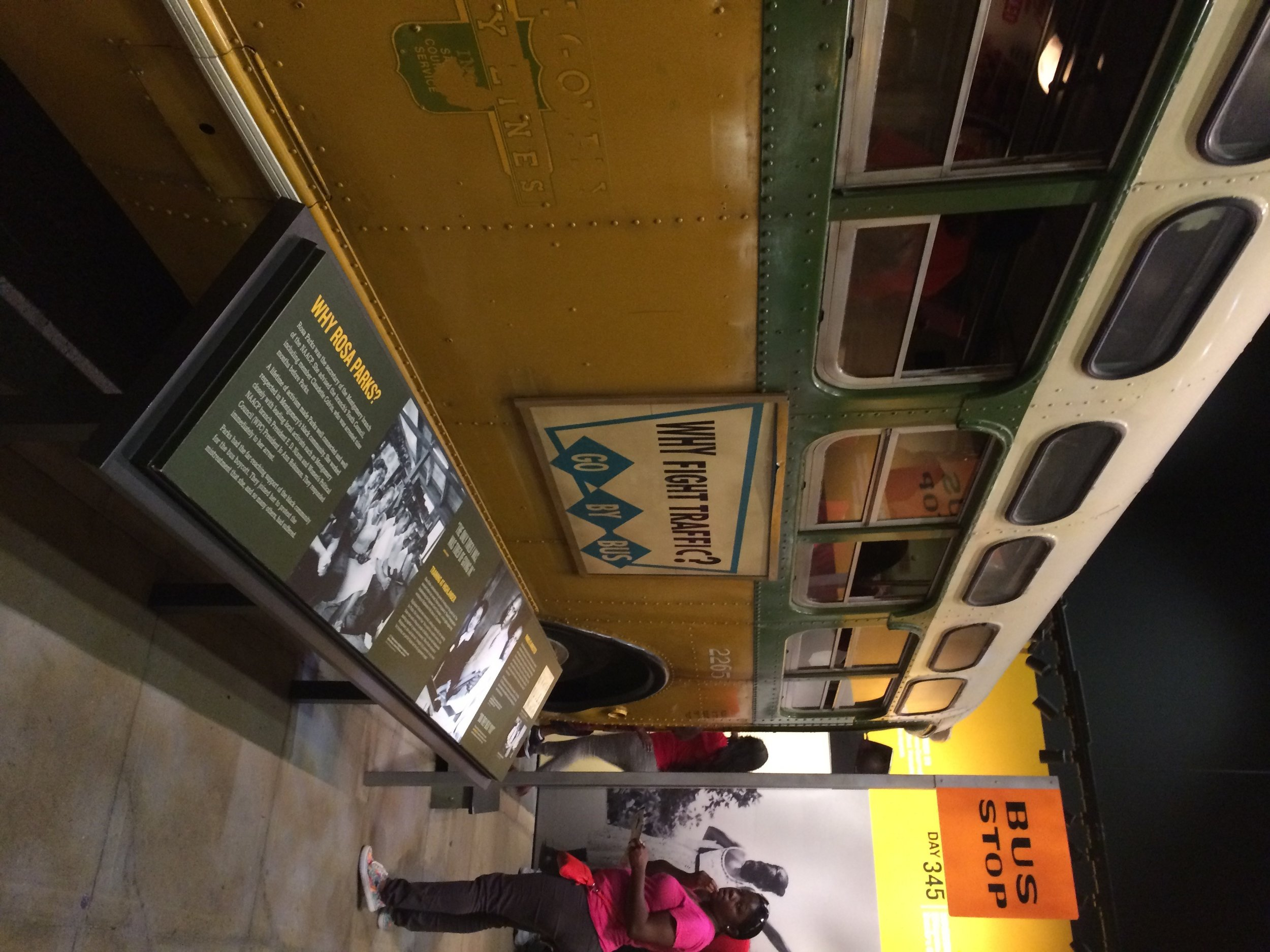 An image of a bus inside the Montgomery Bus Boycott exhibit in the National Civil Rights Museum at the Lorraine Motel in Memphis