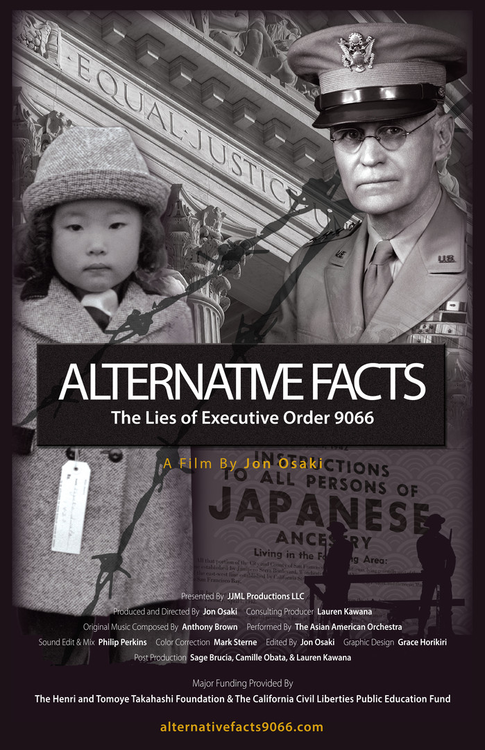 The official movie poster of  Alternative Facts: The Lies of Executive Order 9066  (2018) directed by Jon Osaki. Screening on Saturday, March 16th at 2:40 PM in UO's EMU Redwood Theater. Image courtesy of DisOrient Asian American Film Festival.