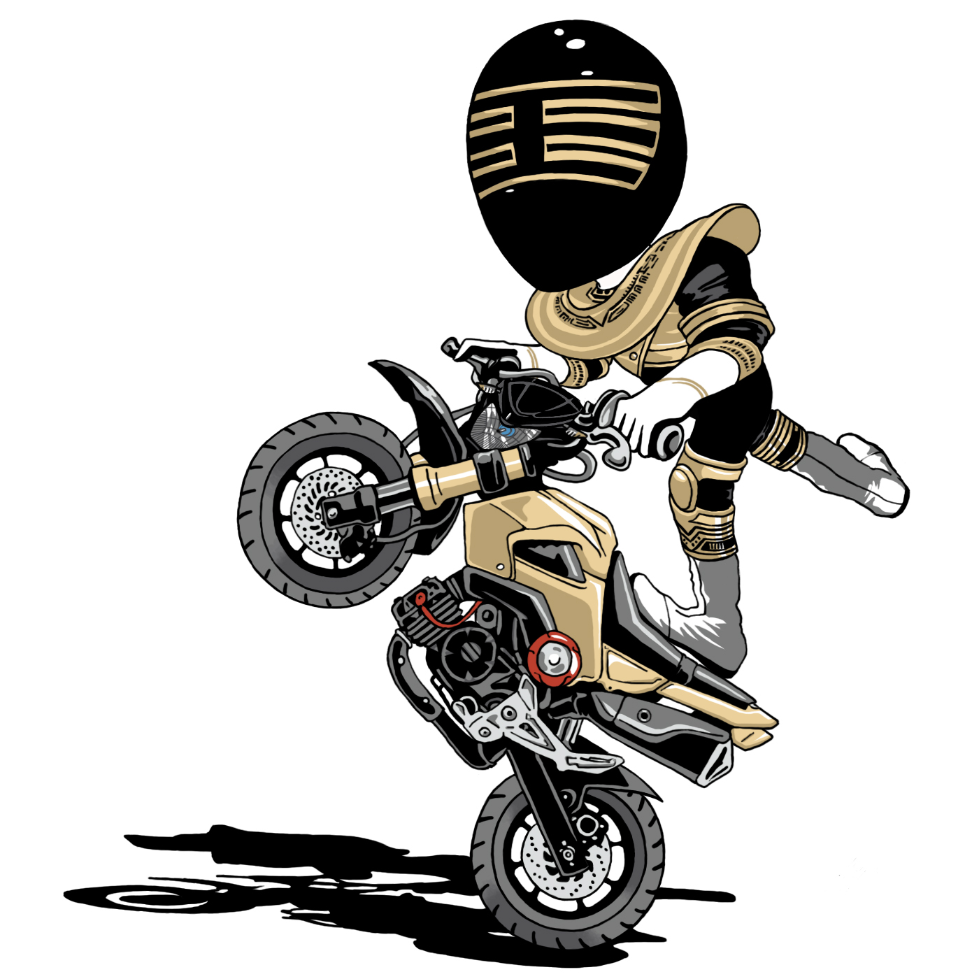 Gold Ranger Grom - Painted for a Honda Grom enthusiast who shares an obsession with the Power Rangers
