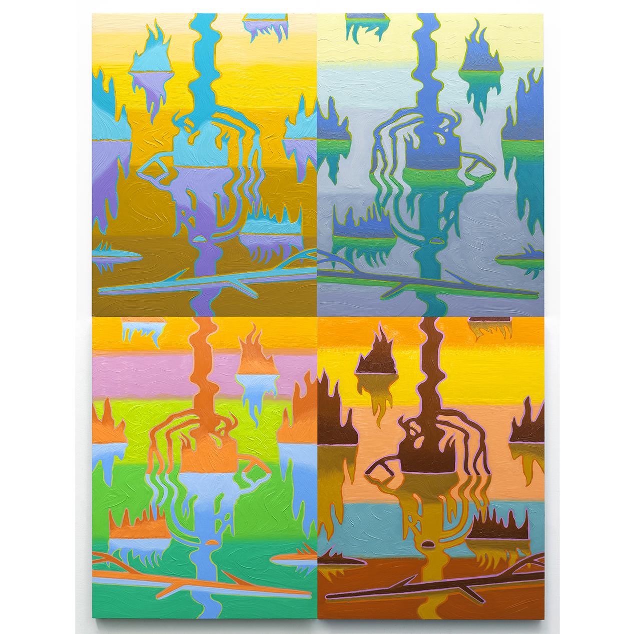 """Swamp Shimmer, Arrangement 4, 2016-17, oil on panel, 48"""" x 36"""""""