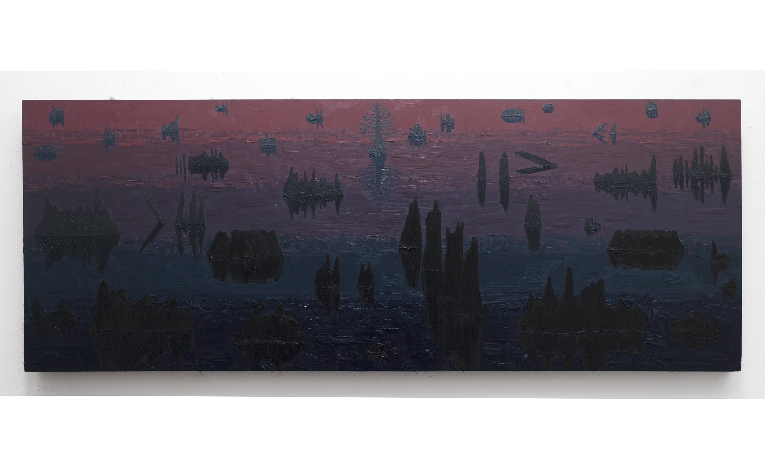 """Early Morning Swampscape, 2015, oil on panel, 48"""" x 24"""""""