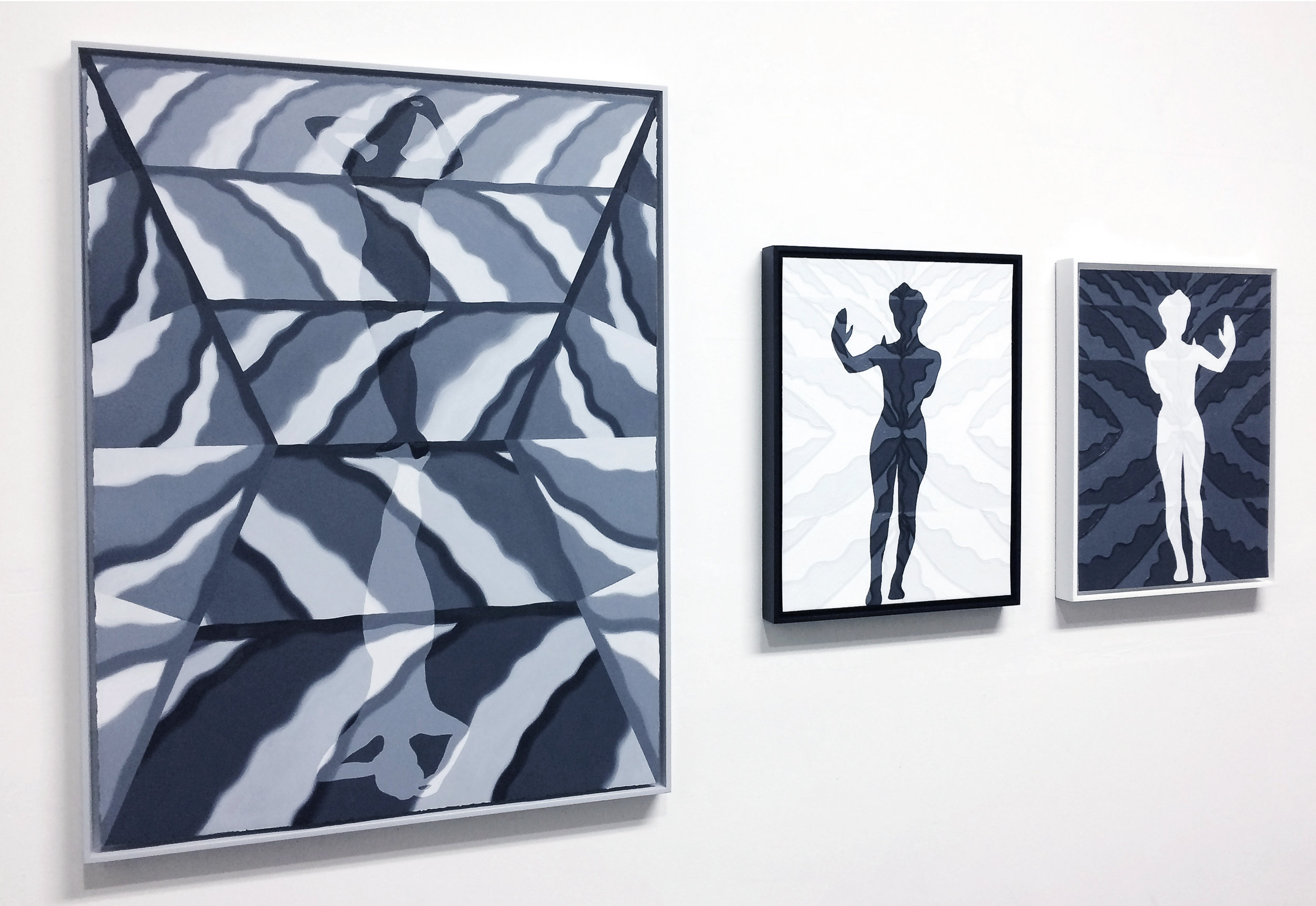 Installation view, from left:   Mirror Cloud, Standing Figure I, and Reflection I,Reflection II