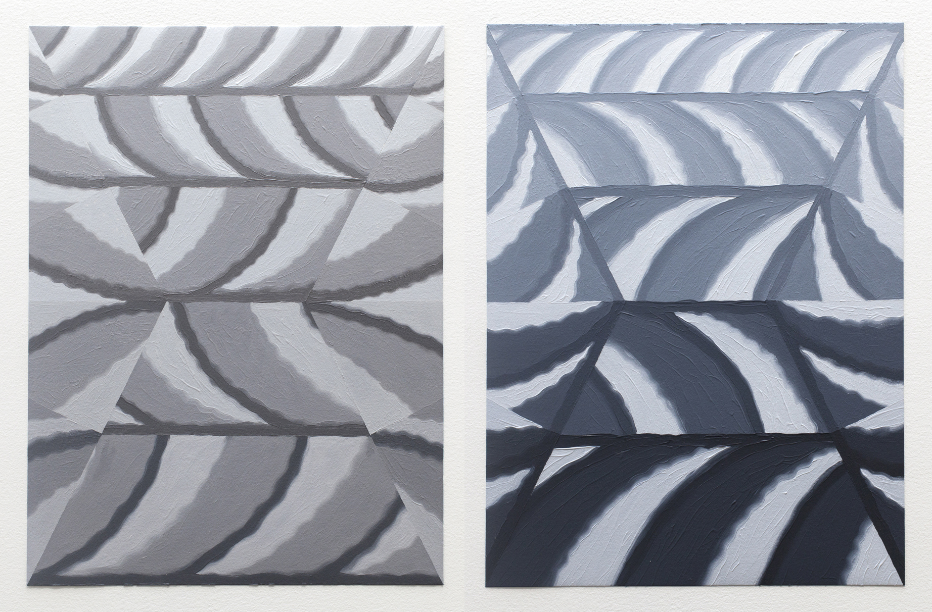 "Cloud Cover Studies VI & IV, 2017, oil on paper, 12"" x 9"" each"