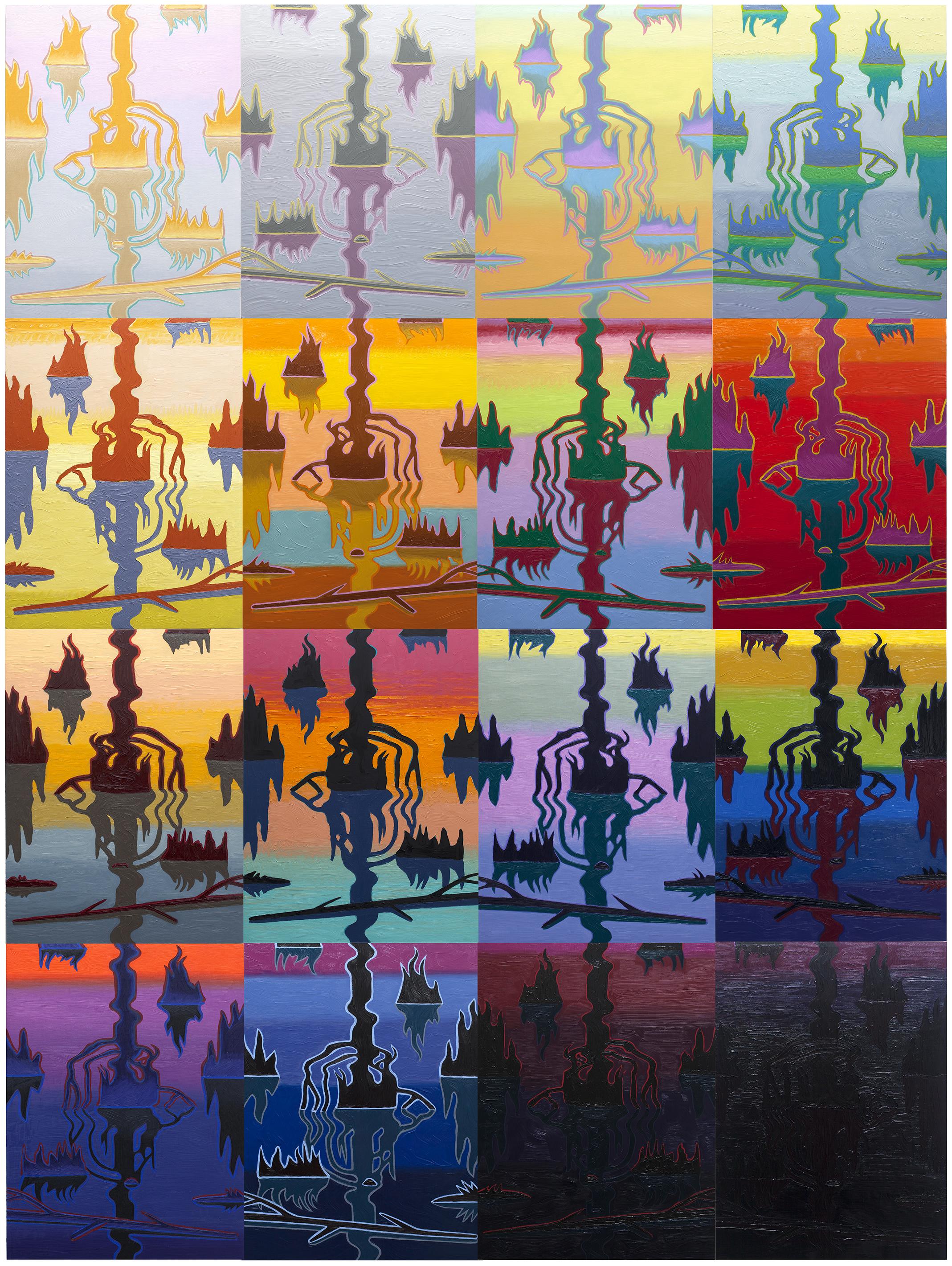 """Swamp Shimmer, 16 panel arrangement   2015-18  oil on panel  96"""" x 72"""""""