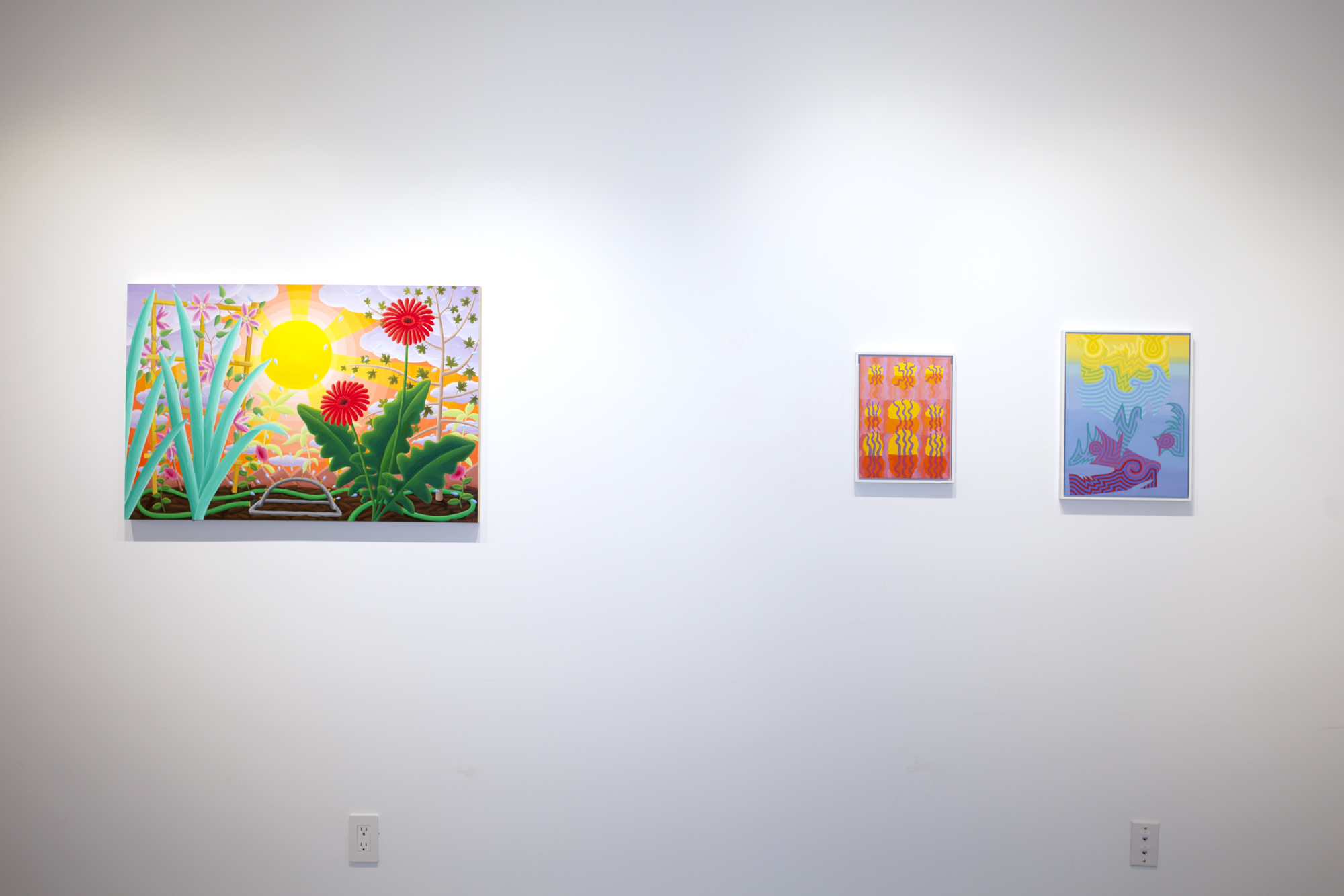Left to right:  Amy Lincoln,  Sprinkler , 2018, acrylic on panel, 24 x 36 inches Caetlynn Booth,  Swamp Wiggle Study , 2017, oil on paper, 13 x 10 inches framed Caetlynn Booth,  Sunrise Study 5 , 2019, oil on paper, 17 x 13 inches framed