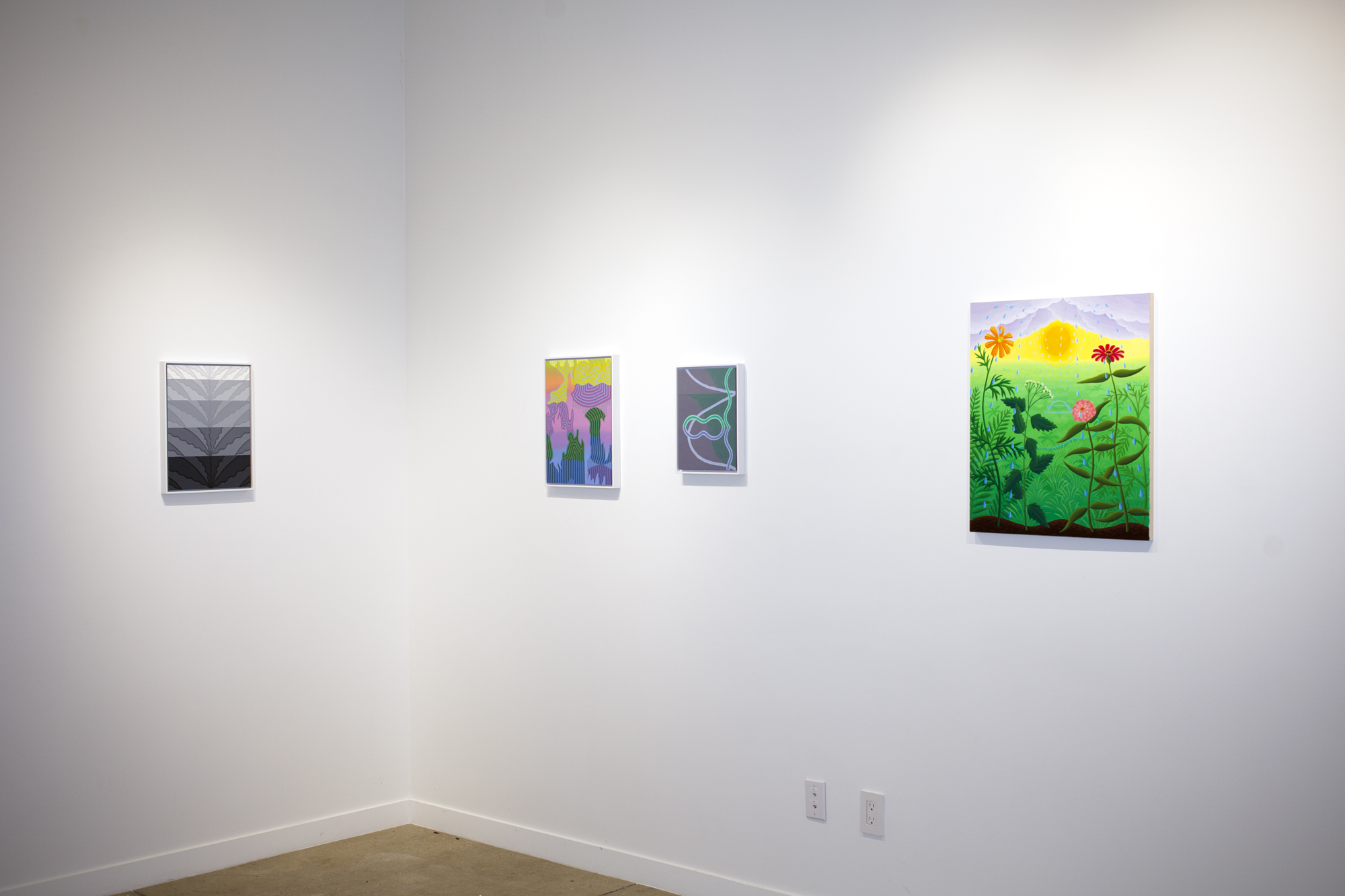 From left to right:  Caetlynn Booth,  Splash Study , 2017, oil on paper, 17 x 13 inches framed Caetlynn Booth,  Sunrise Study 2 , 2019, oil on paper, 17 x 13 inches framed Caetlynn Booth,  Synchronized Mirror II , Study 1, 2018, oil on paper, 13 x 10 inches framed Amy Lincoln,  Sprinkler with Wildflowers , 2018, acrylic on panel, 24 x 20 inches