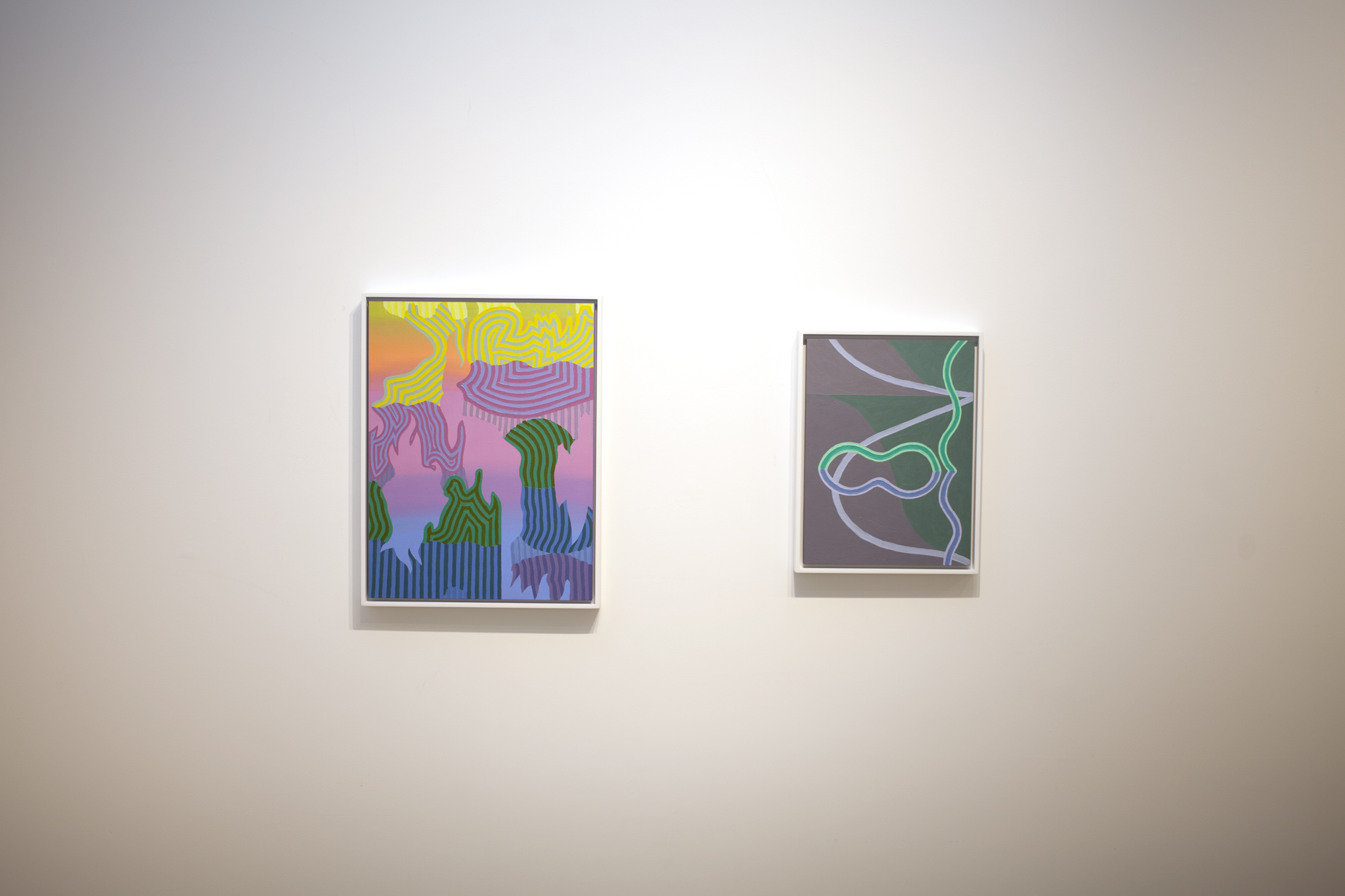 From left to right:  Caetlynn Booth,  Sunrise Study 2 , 2019, oil on paper, 17 x 13 inches framed Caetlynn Booth,  Synchronized Mirror II , Study 1, 2018, oil on paper, 13 x 10 inches framed