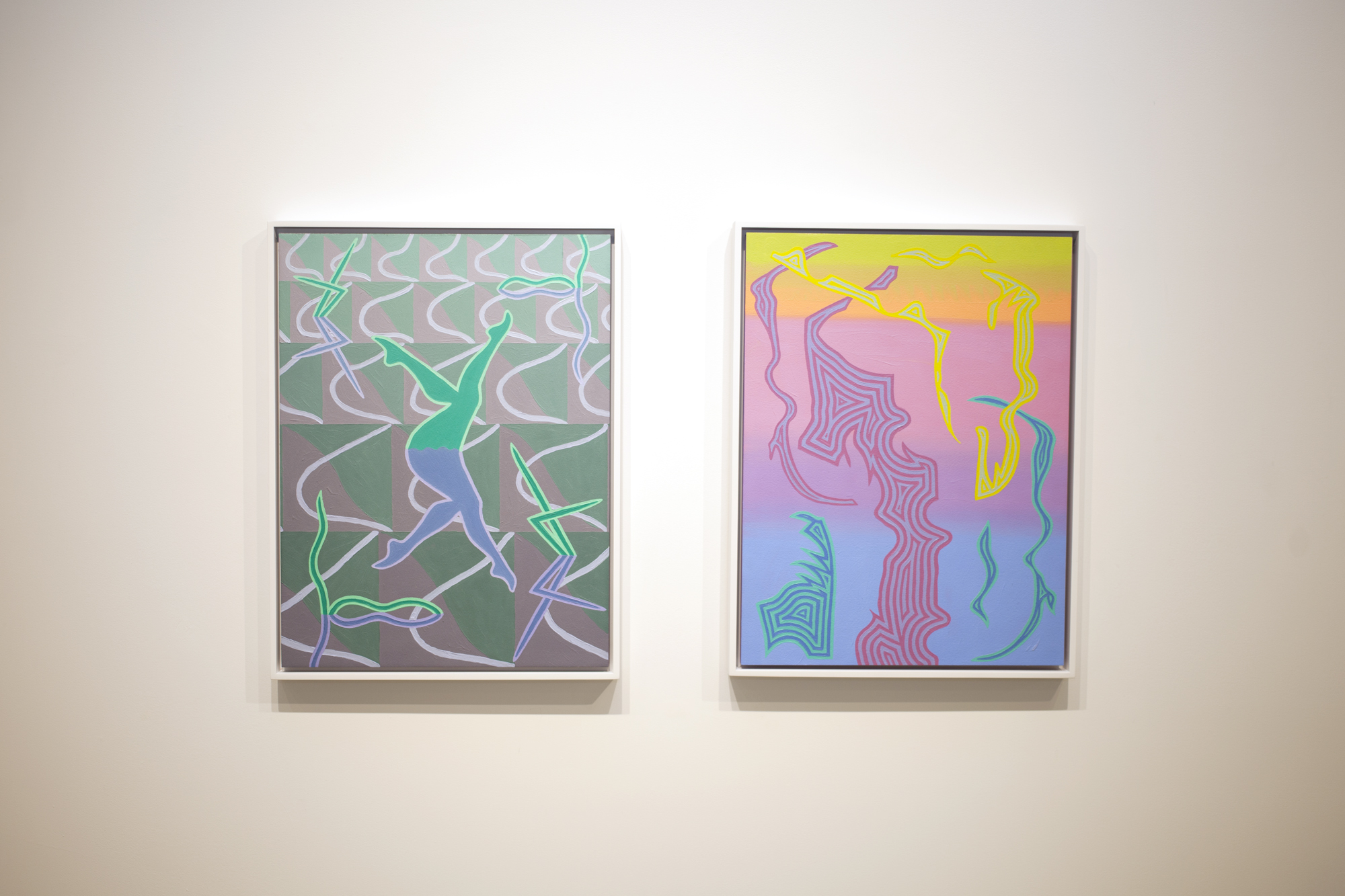 Left to right: Caetlynn Booth,  Synchronized Mirror II , 2018, oil on paper, 17 x 13 inches framed Caetlynn Booth,  Sunrise Study 1 , 2019, oil on paper, 17 x 13 inches framed
