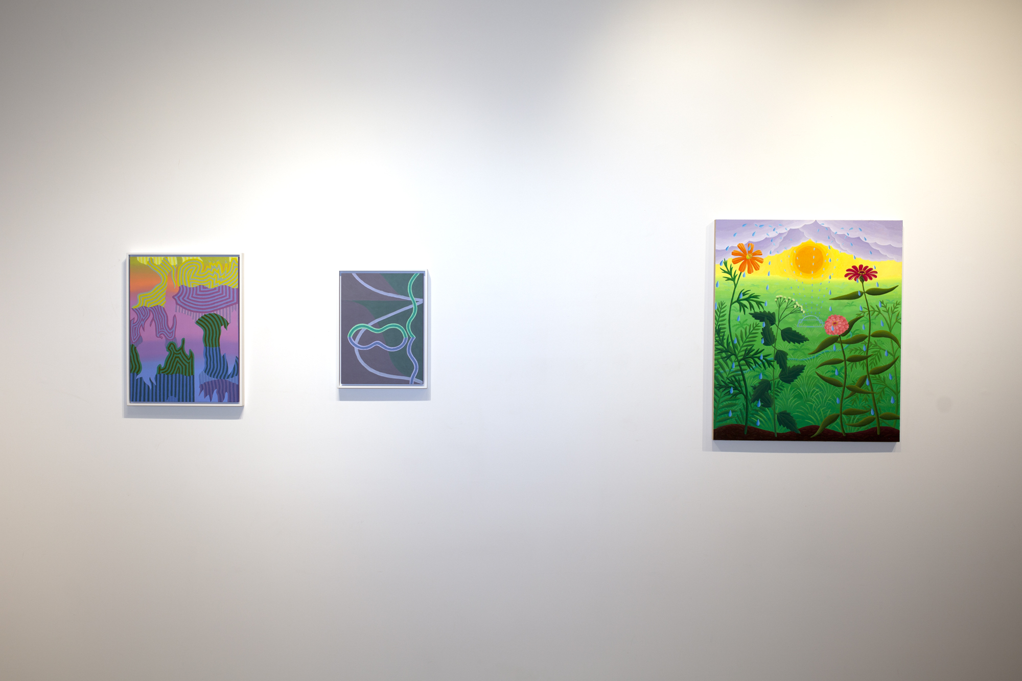 From left to right:  Caetlynn Booth,  Sunrise Study 2 , 2019, oil on paper, 17 x 13 inches framed Caetlynn Booth,  Synchronized Mirror II , Study 1, 2018, oil on paper, 13 x 10 inches framed Amy Lincoln,  Sprinkler with Wildflowers , 2018, acrylic on panel, 24 x 20 inches
