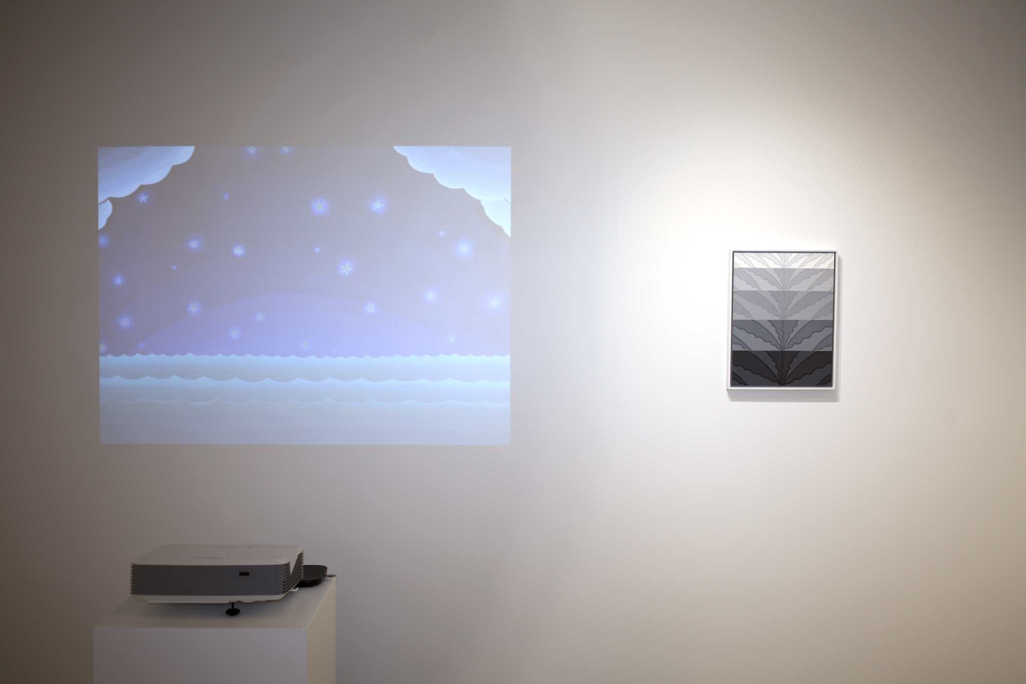 Left to right: Amy Lincoln,  Sun, Sea, Sky , Stop motion animation, 3 minutes 40 seconds, 2019 Caetlynn Booth,  Splash Study , 2017, oil on paper, 17 x 13 inches framed