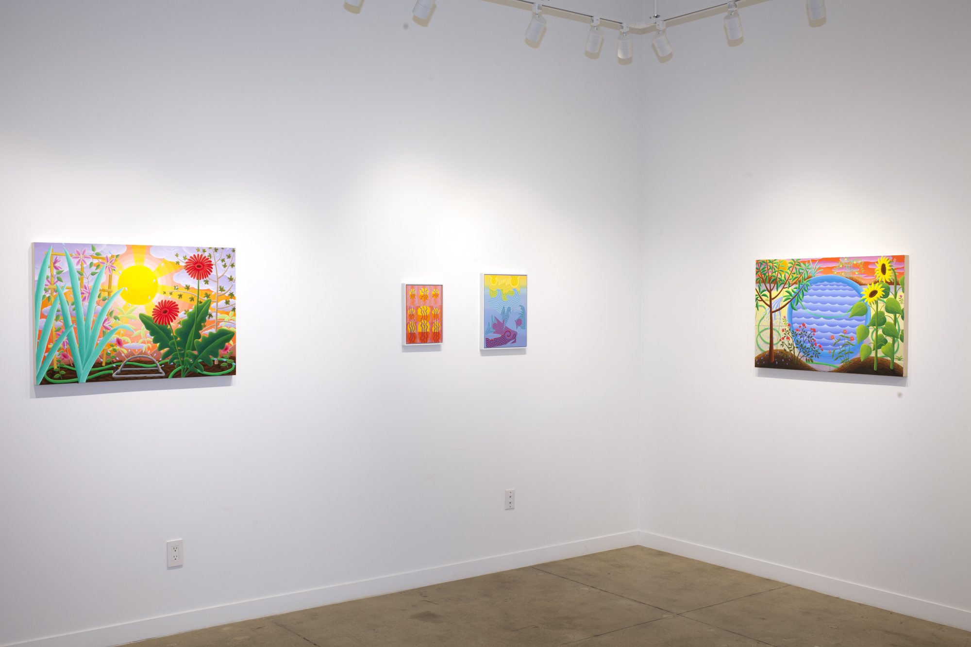 Left to right:  Amy Lincoln,  Sprinkler , 2018, acrylic on panel, 24 x 36 inches Caetlynn Booth,  Swamp Wiggle Study , 2017, oil on paper, 13 x 10 inches framed Caetlynn Booth,  Sunrise Study 5 , 2019, oil on paper, 17 x 13 inches framed Amy Lincoln,  Blue Plastic Pool , 2018, acrylic on panel, 24 x 36 inches
