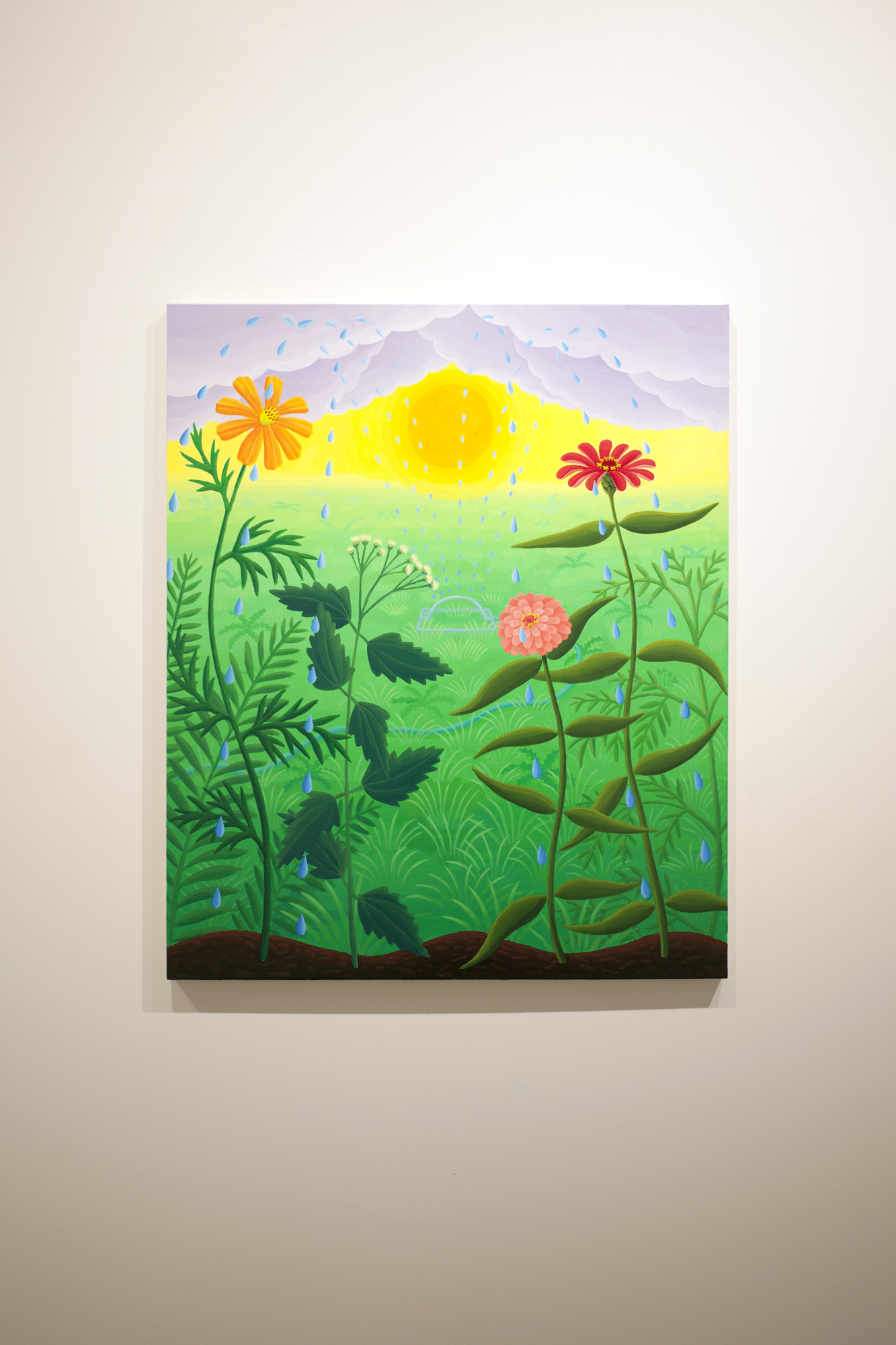 Amy Lincoln,  Sprinkler with Wildflowers , 2018, acrylic on panel, 24 x 20 inches