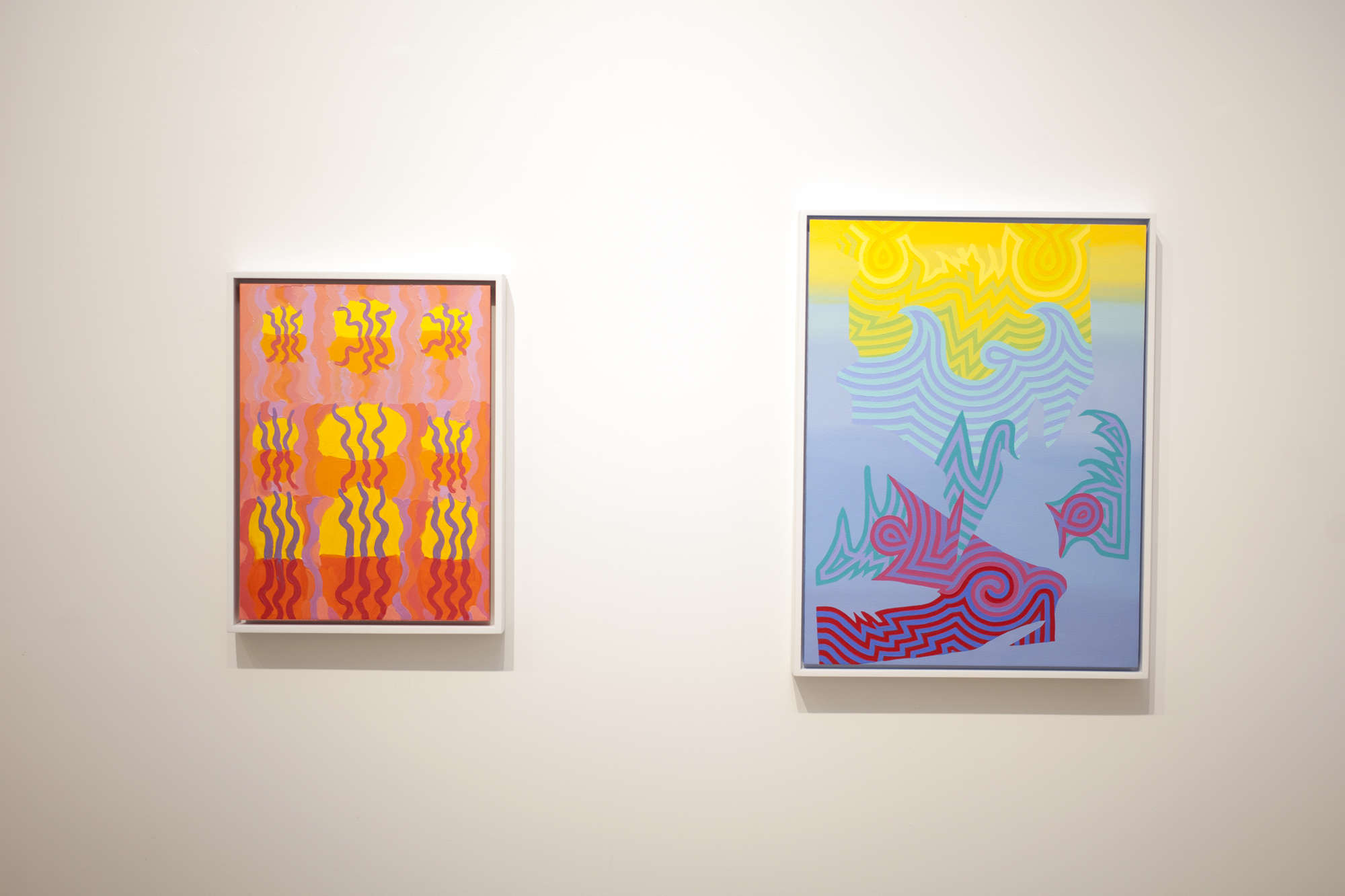 Left to right: Caetlynn Booth,  Swamp Wiggle Study , 2017, oil on paper, 13 x 10 inches framed Caetlynn Booth,  Sunrise Study 5 , 2019, oil on paper, 17 x 13 inches framed