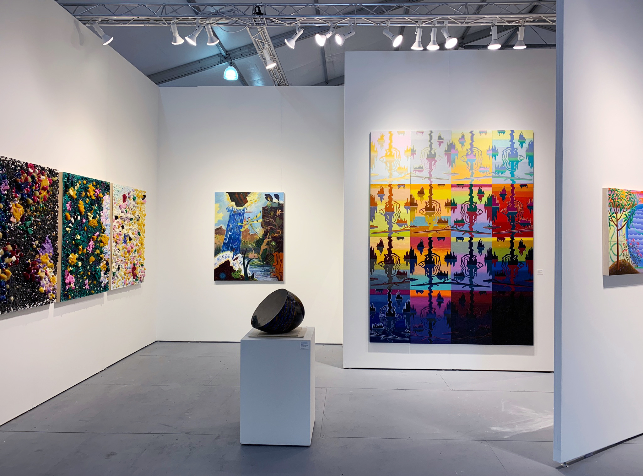 """Swamp Shimmer 16-panel booth installation at Pulse: Miami Beach, 2018  oil on panel, 96"""" x 72"""""""